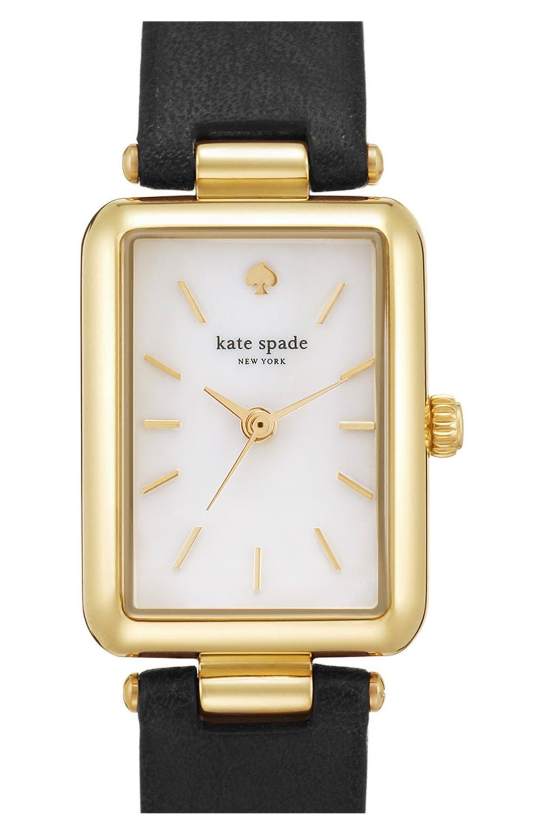 KATE SPADE NEW YORK 'paley' rectangular leather strap watch, 21mm x 28mm, Main, color, 001