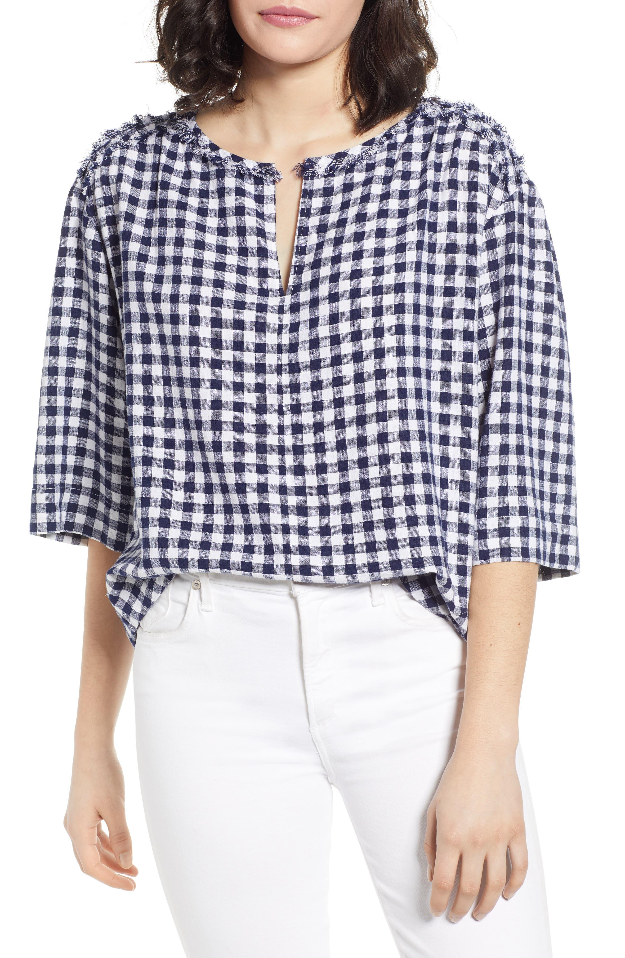 CASLON<SUP>®</SUP> Check Linen Blend Popover Top, Main, color, NAVY GINGHAM