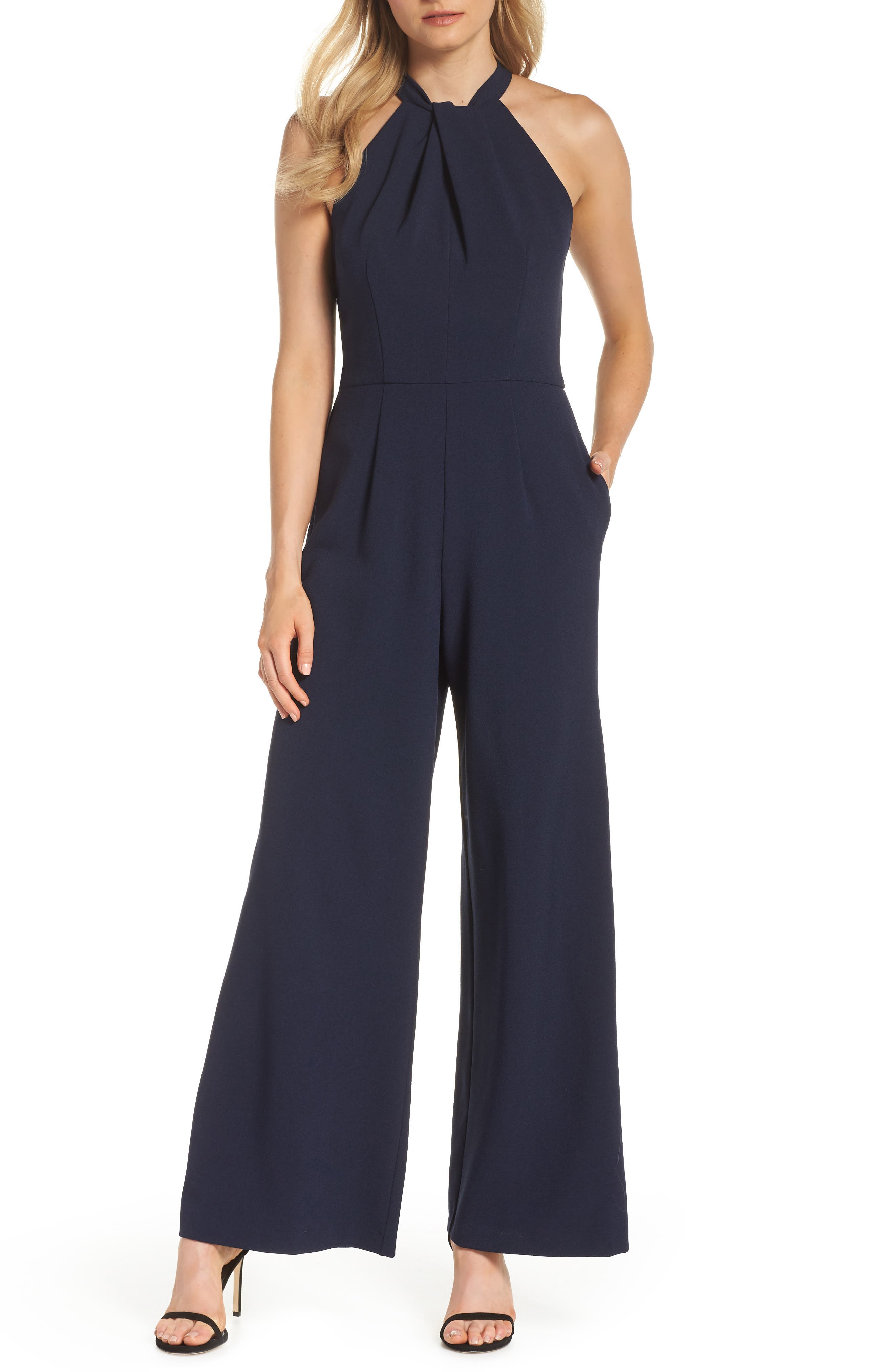 JULIA JORDAN, Halter Wide Leg Jumpsuit, Main thumbnail 1, color, NAVY