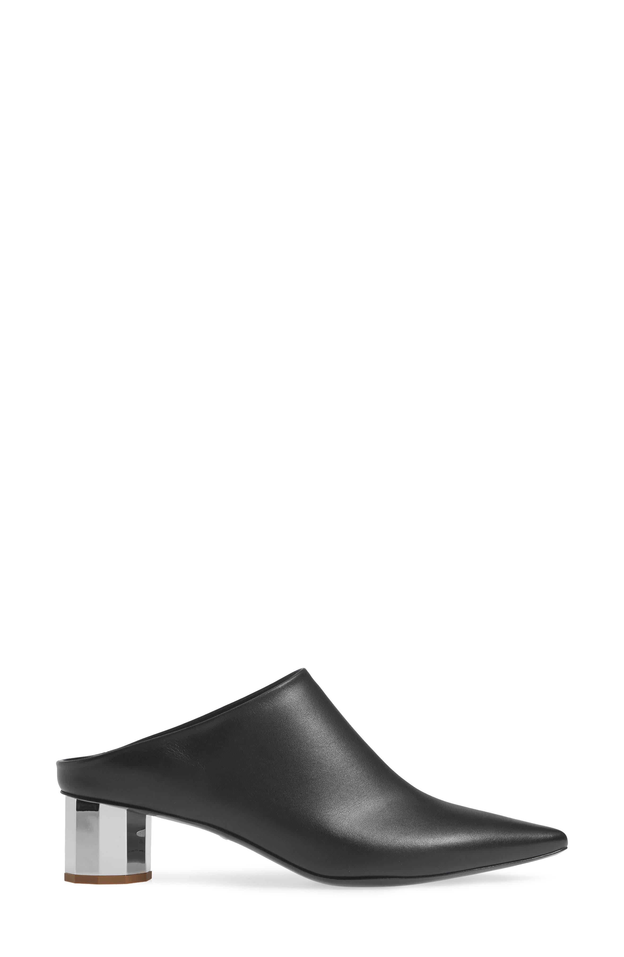 PROENZA SCHOULER, Pointy Toe Mule, Alternate thumbnail 3, color, BLACK