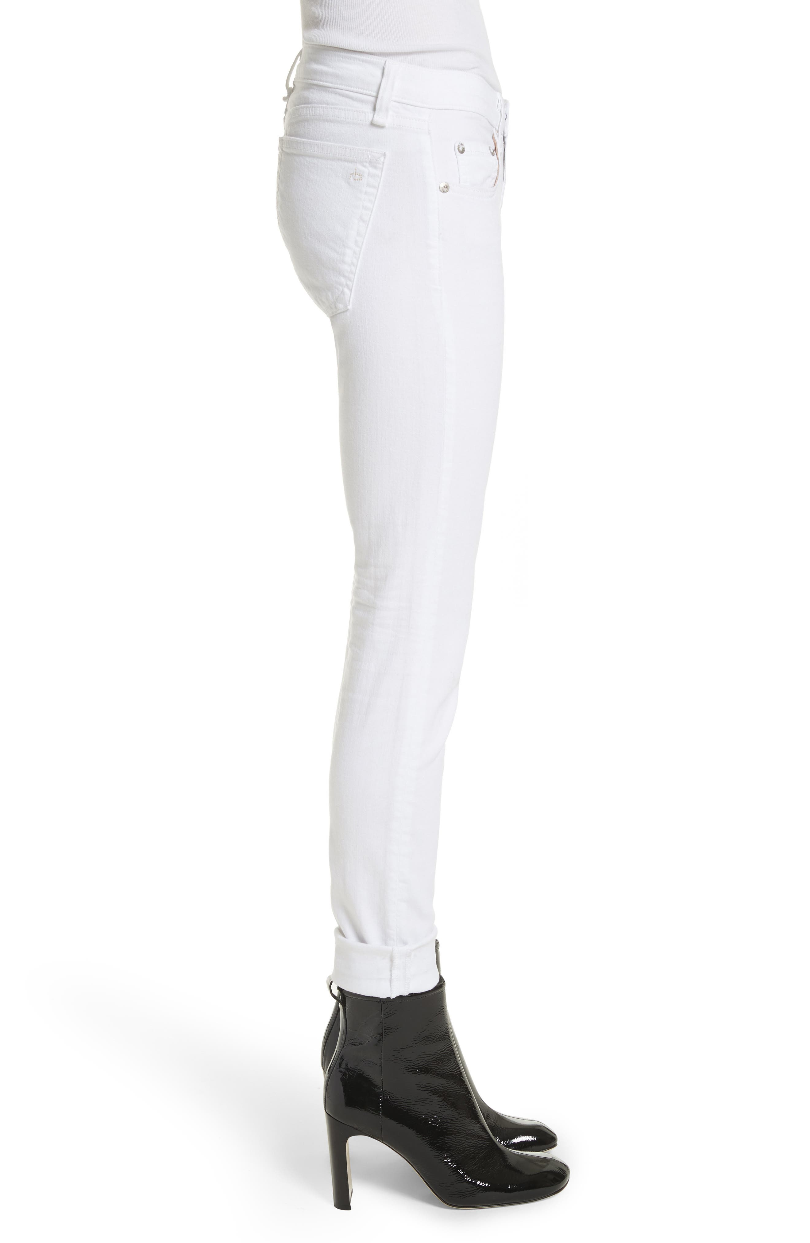 RAG & BONE, 'The Dre' Skinny Jeans, Alternate thumbnail 4, color, BRIGHT WHITE