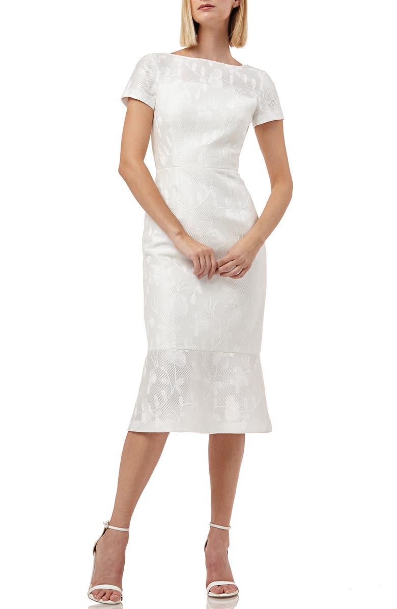 Kay Unger Dresses FLOUNCE HEM EMBROIDERED MESH COCKTAIL DRESS