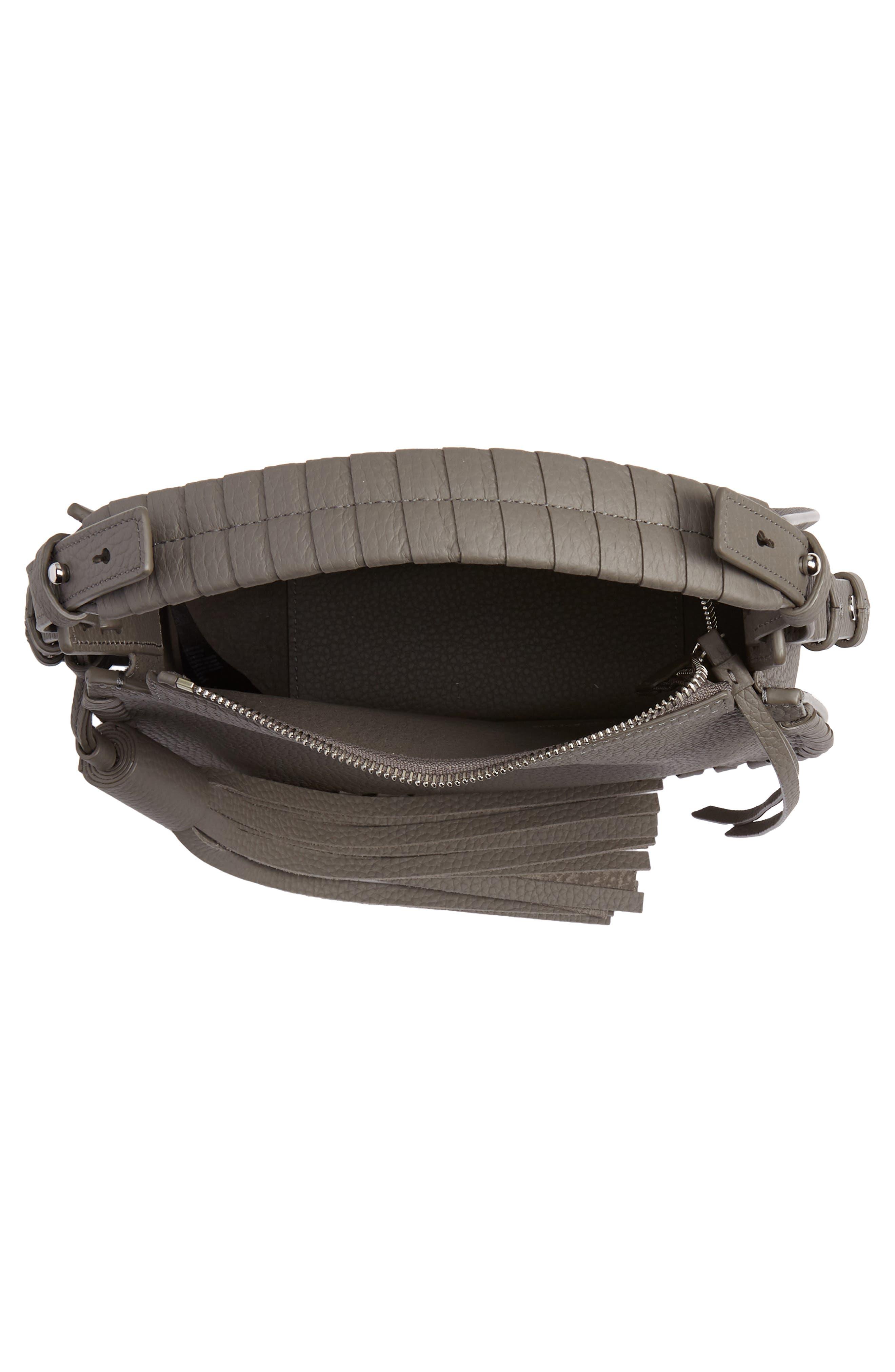 ALLSAINTS, Mori Leather Crossbody Bag, Alternate thumbnail 4, color, STORM GREY