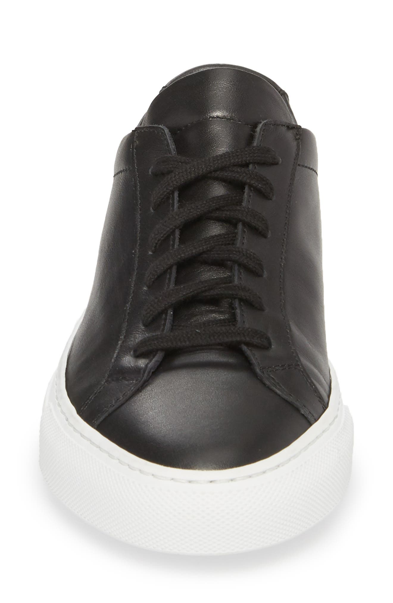 COMMON PROJECTS, Original Achilles Low Sneaker, Alternate thumbnail 4, color, BLACK
