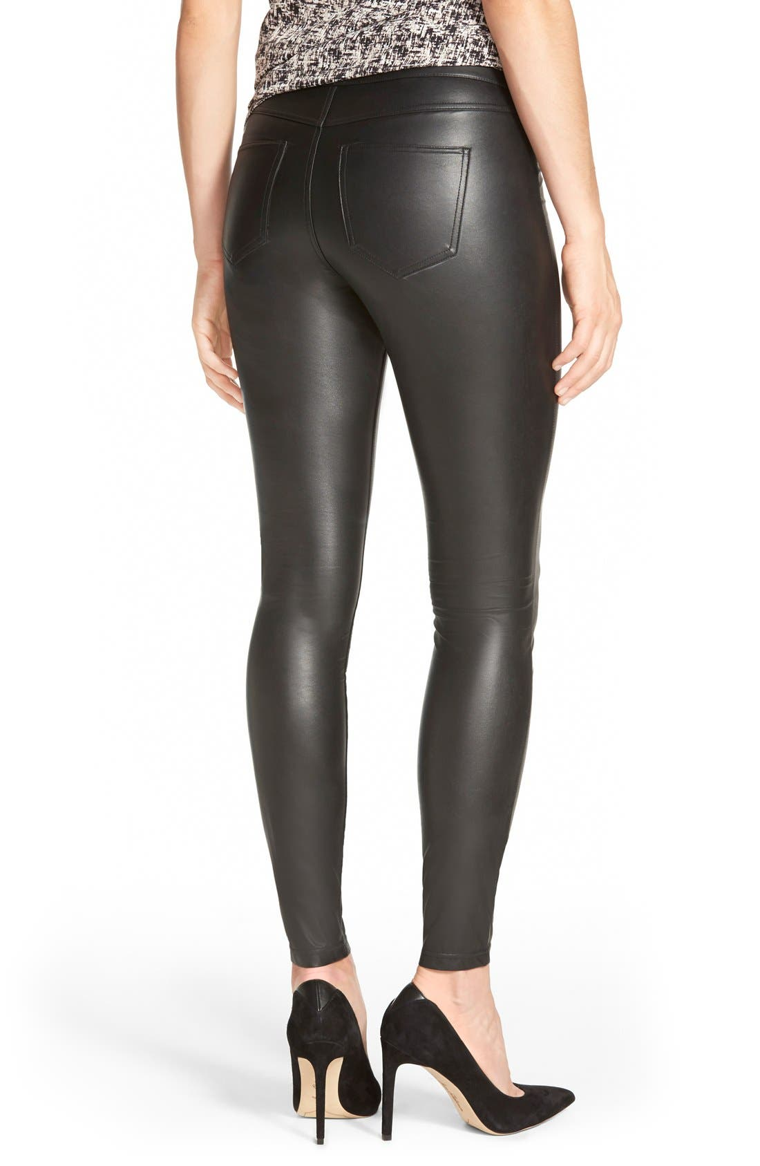 HUE, Faux Leather Leggings, Alternate thumbnail 3, color, 001