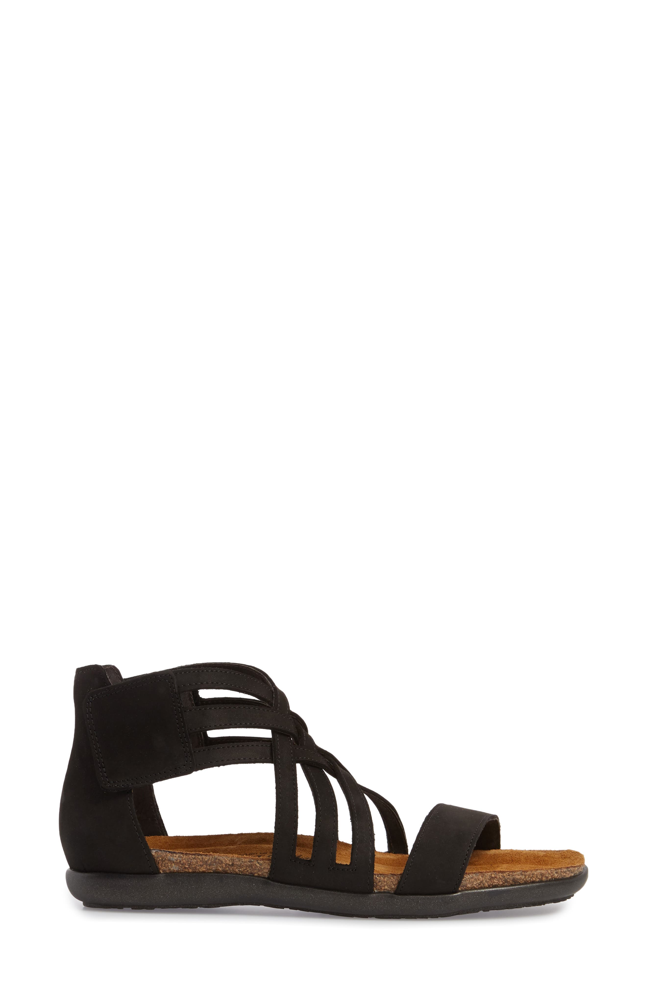 NAOT, Marita Sandal, Alternate thumbnail 3, color, BLACK VELVET NUBUCK