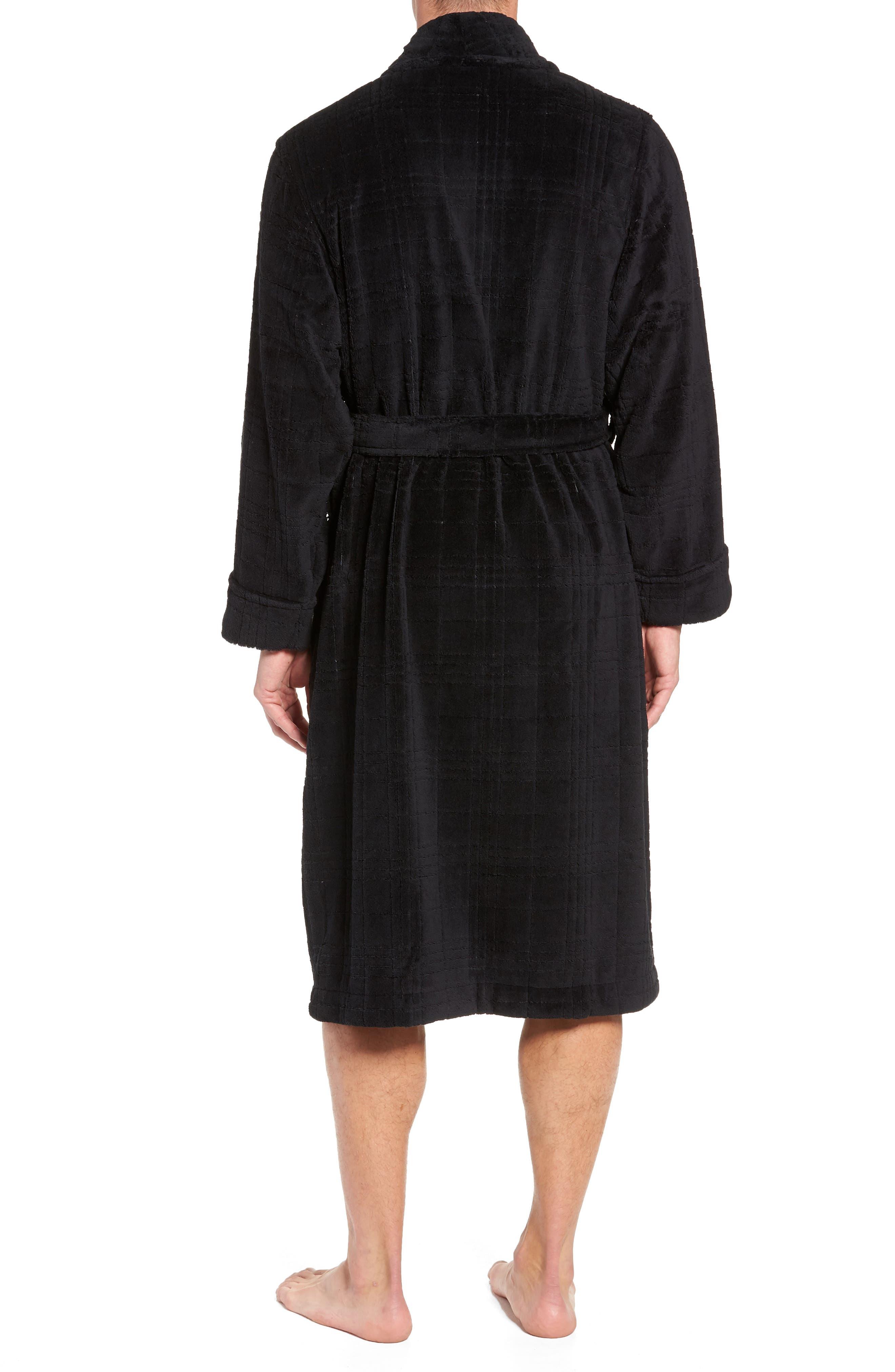 NORDSTROM MEN'S SHOP, Shadow Plaid Fleece Robe, Alternate thumbnail 2, color, BLACK