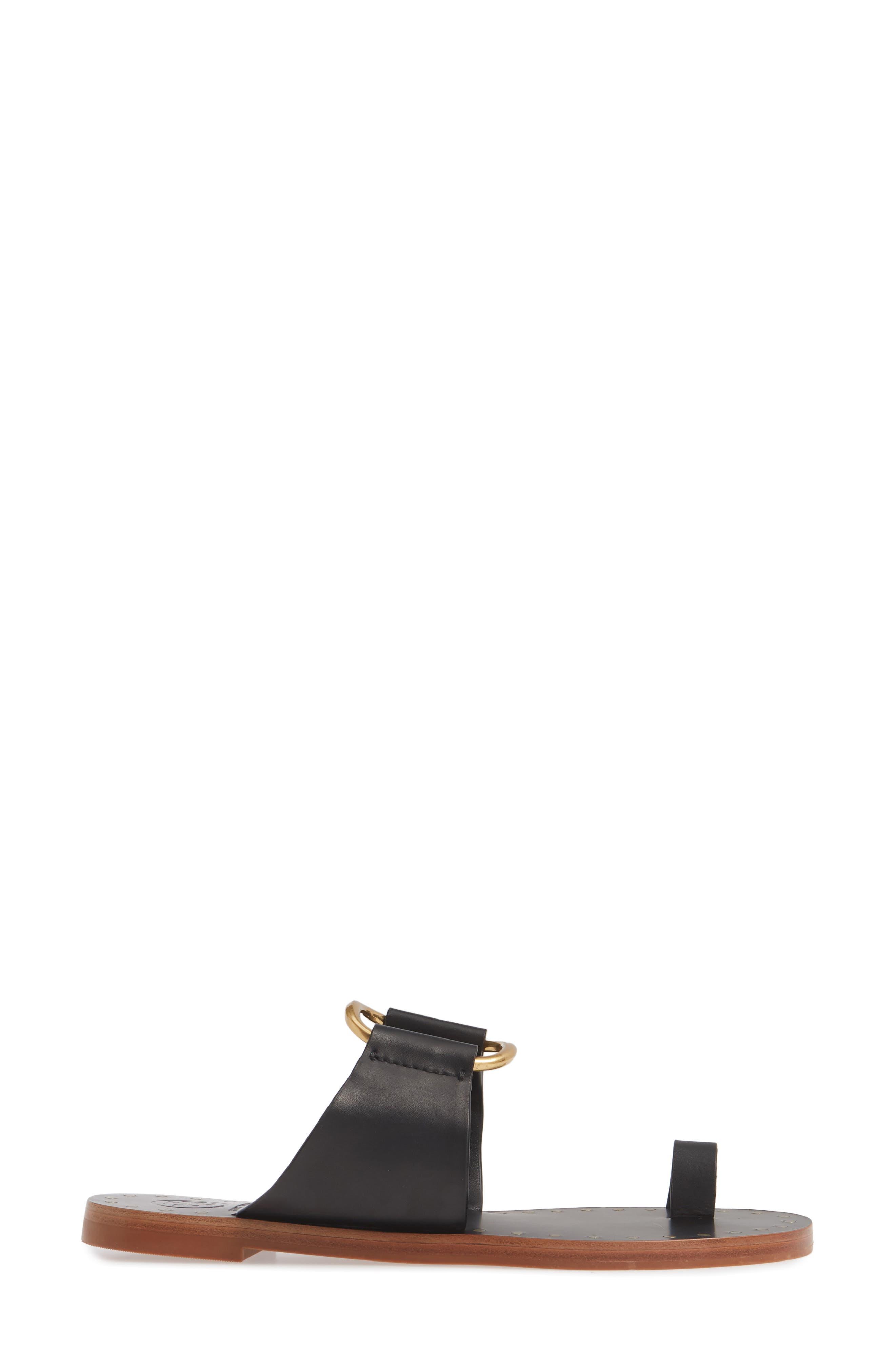 TORY BURCH, Ravello Toe Ring Sandal, Alternate thumbnail 3, color, PERFECT BLACK/ GOLD