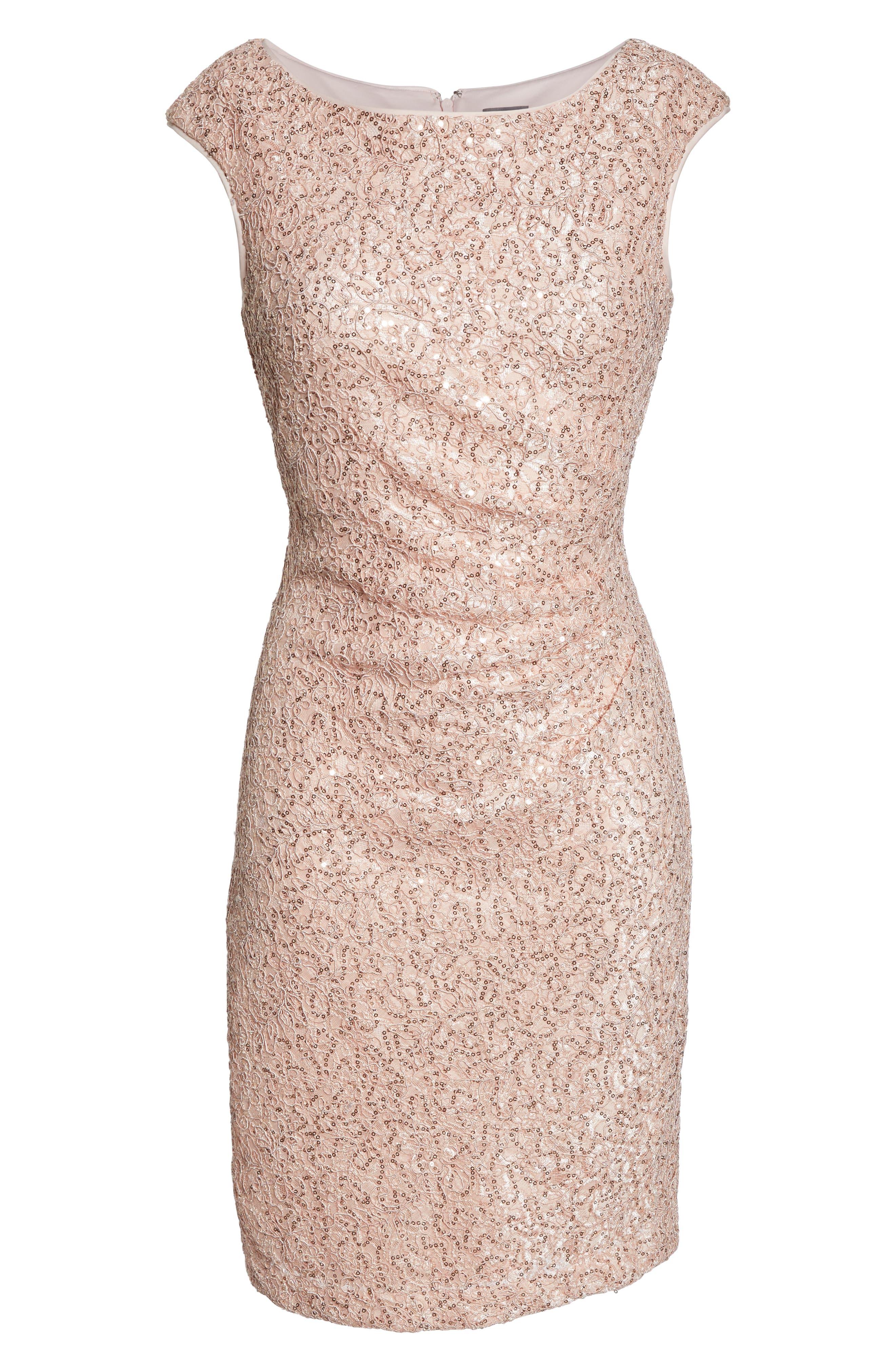 VINCE CAMUTO, Sequin Lace Sheath Dress, Alternate thumbnail 7, color, 684