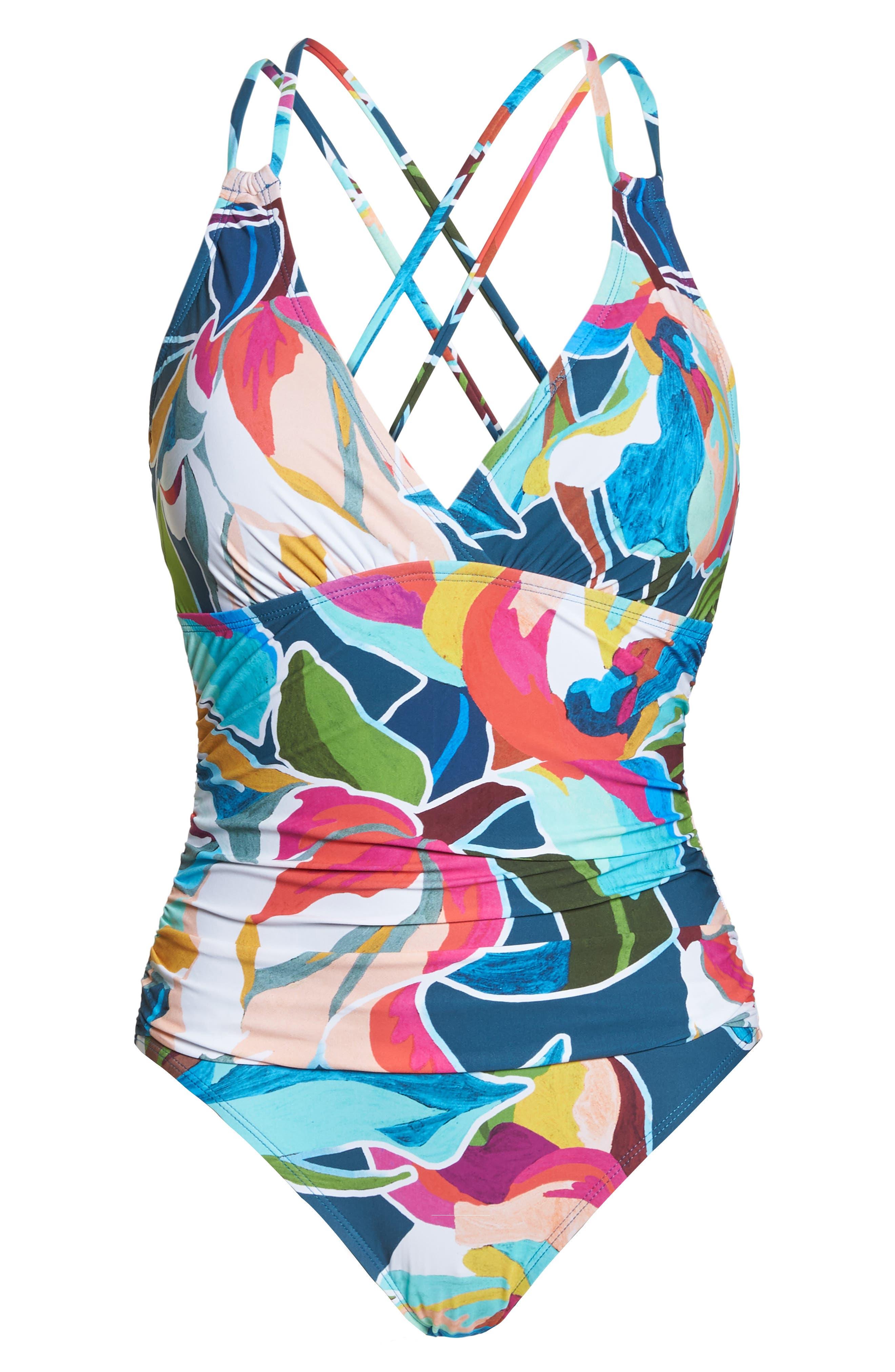 LA BLANCA, Floral Surplice One-Piece Swimsuit, Alternate thumbnail 7, color, MARINA