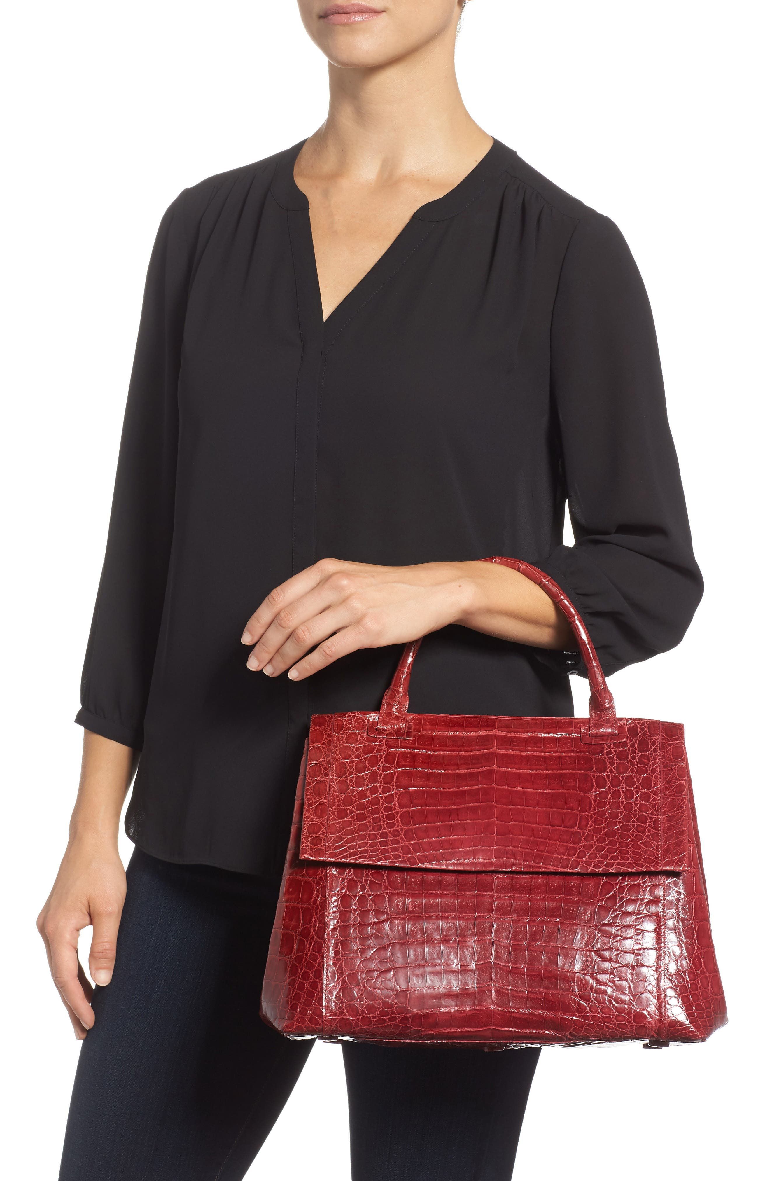 NANCY GONZALEZ, Medium Sophie Genuine Crocodile Top Handle Bag, Alternate thumbnail 2, color, RED SHINY
