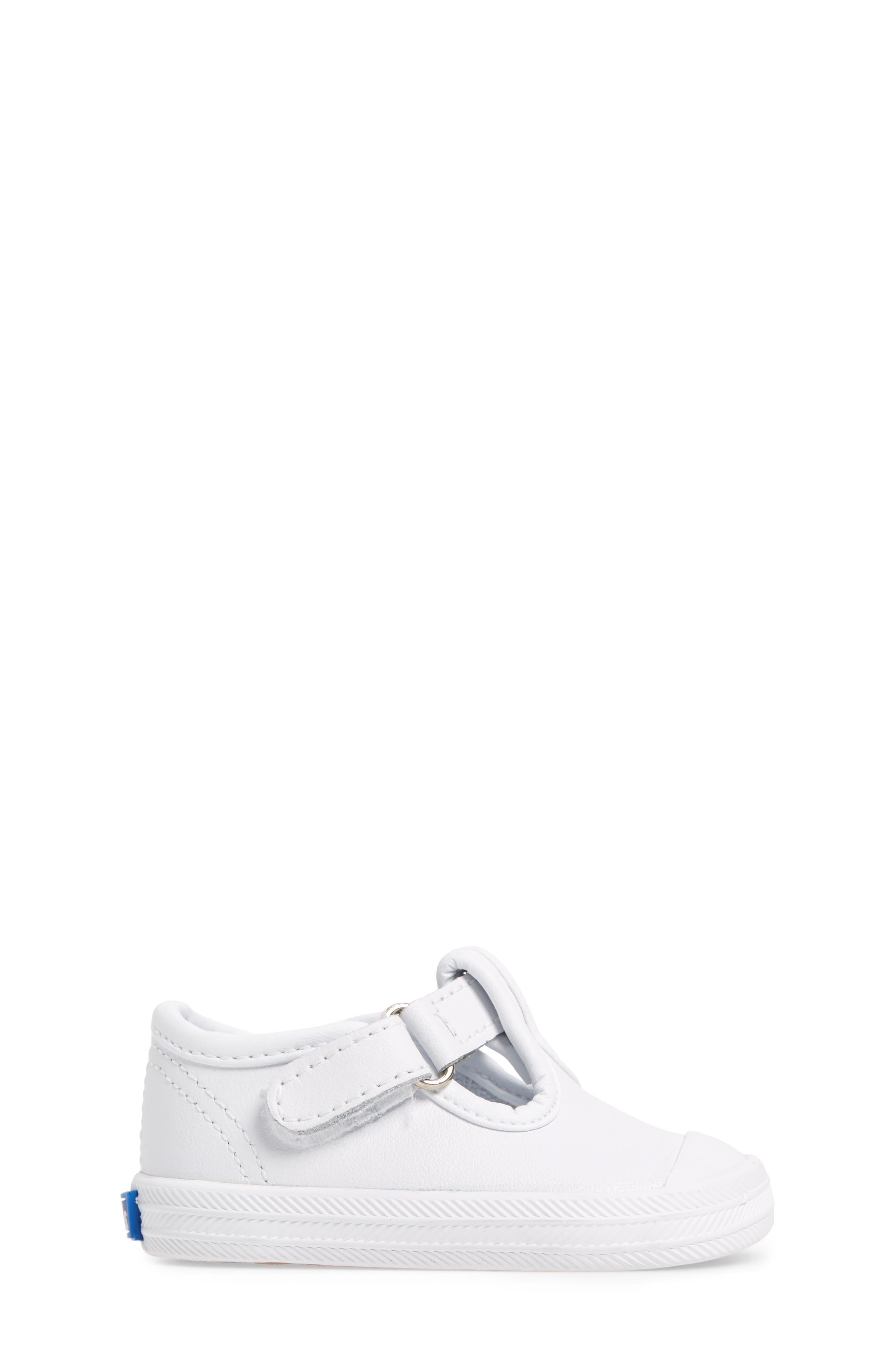 KEDS<SUP>®</SUP>, 'Champion' T-Strap Shoe, Alternate thumbnail 3, color, WHITE LEATHER