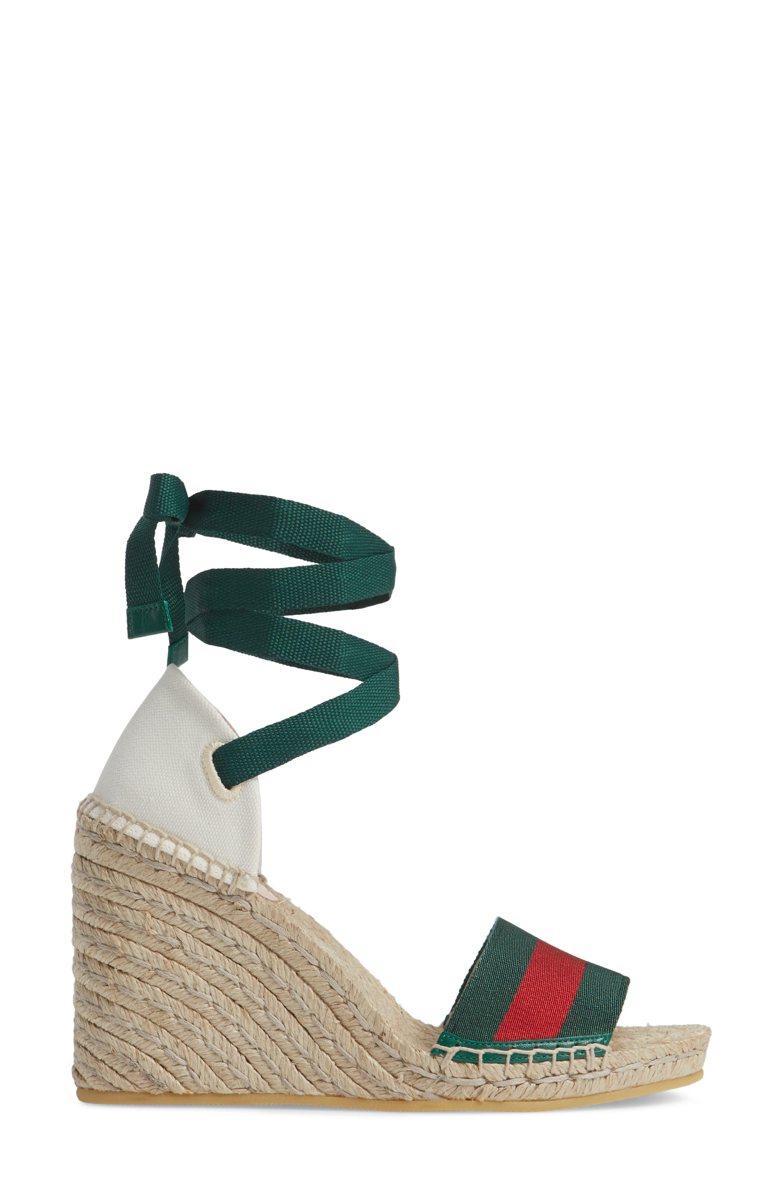 GUCCI, Lilibeth Sylvie Web Espadrille Wedge Sandal, Alternate thumbnail 3, color, WHITE/ GREEN