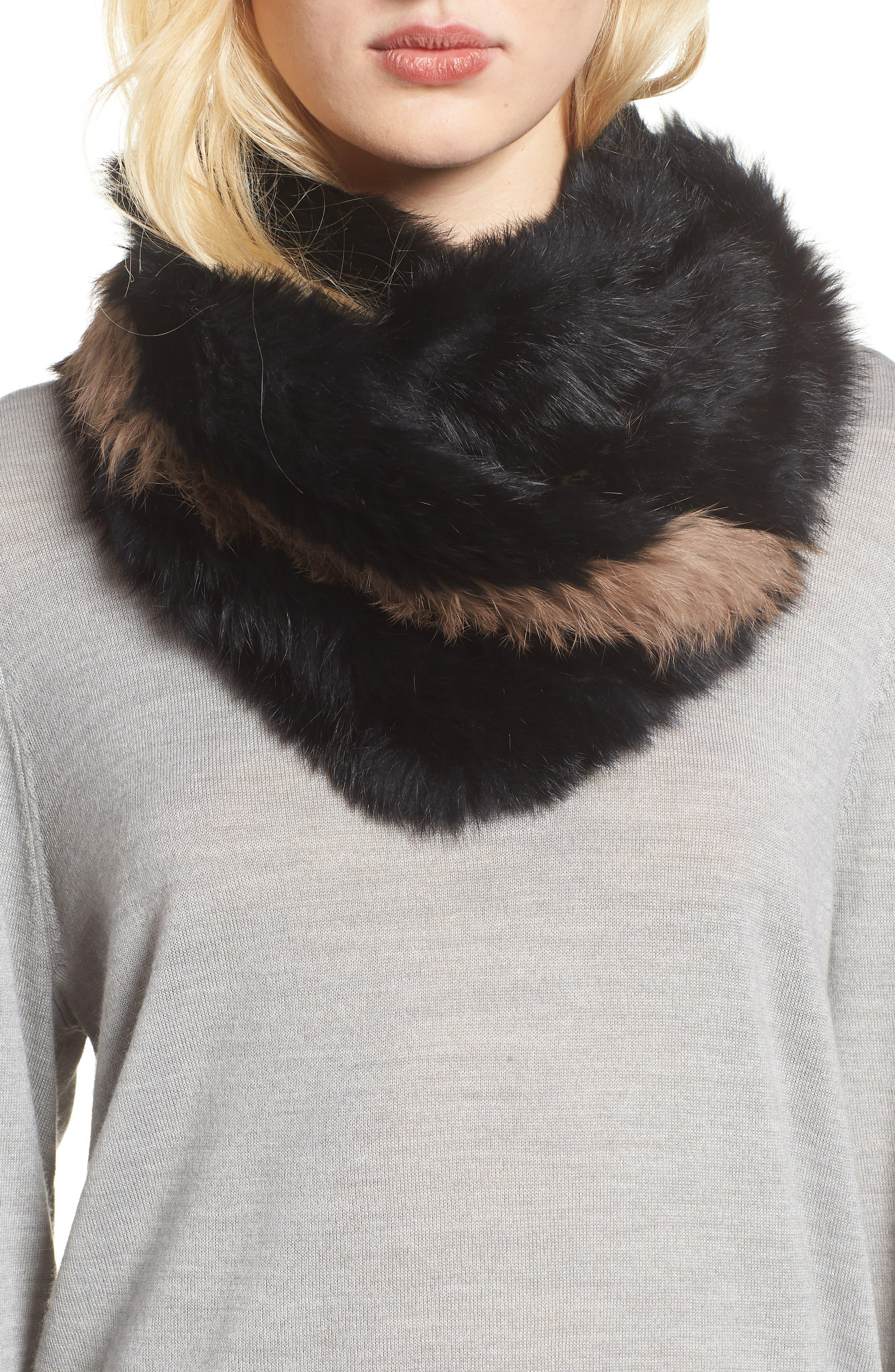 LOVE TOKEN, Genuine Rabbit Fur Infinity Scarf, Main thumbnail 1, color, 001
