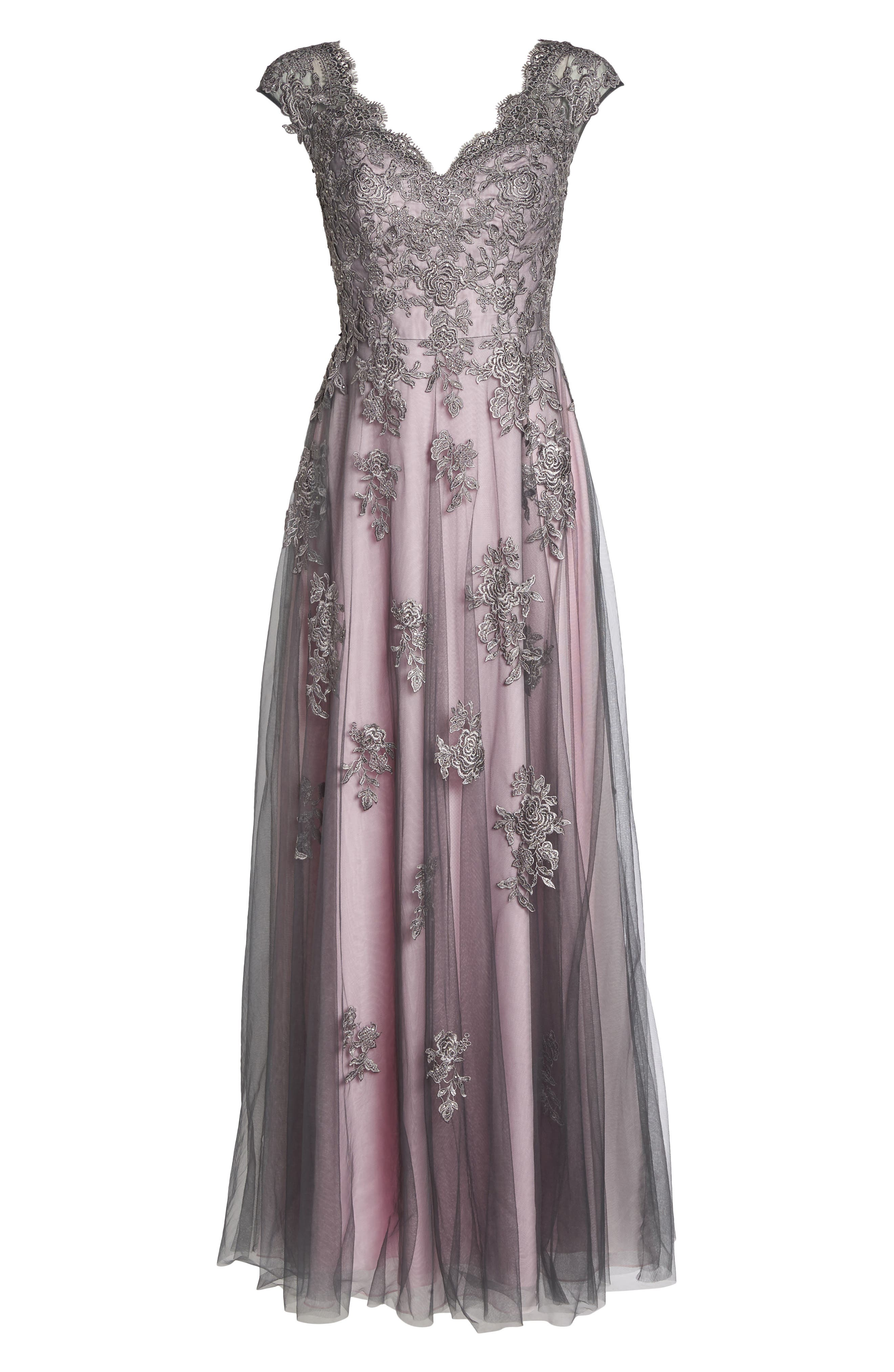 LA FEMME, Embellished Mesh A-Line Gown, Alternate thumbnail 6, color, PINK/ GRAY