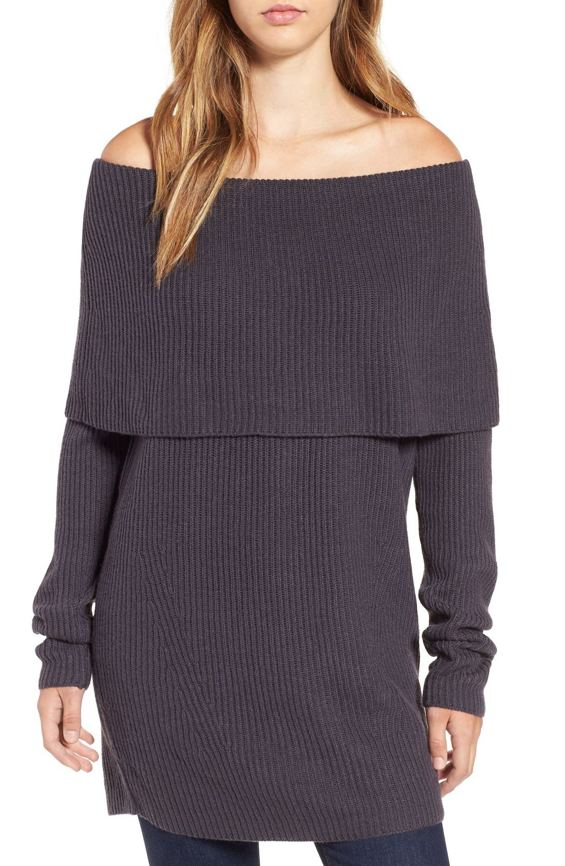 LEITH Off the Shoulder Knit Sweater, Main, color, 021