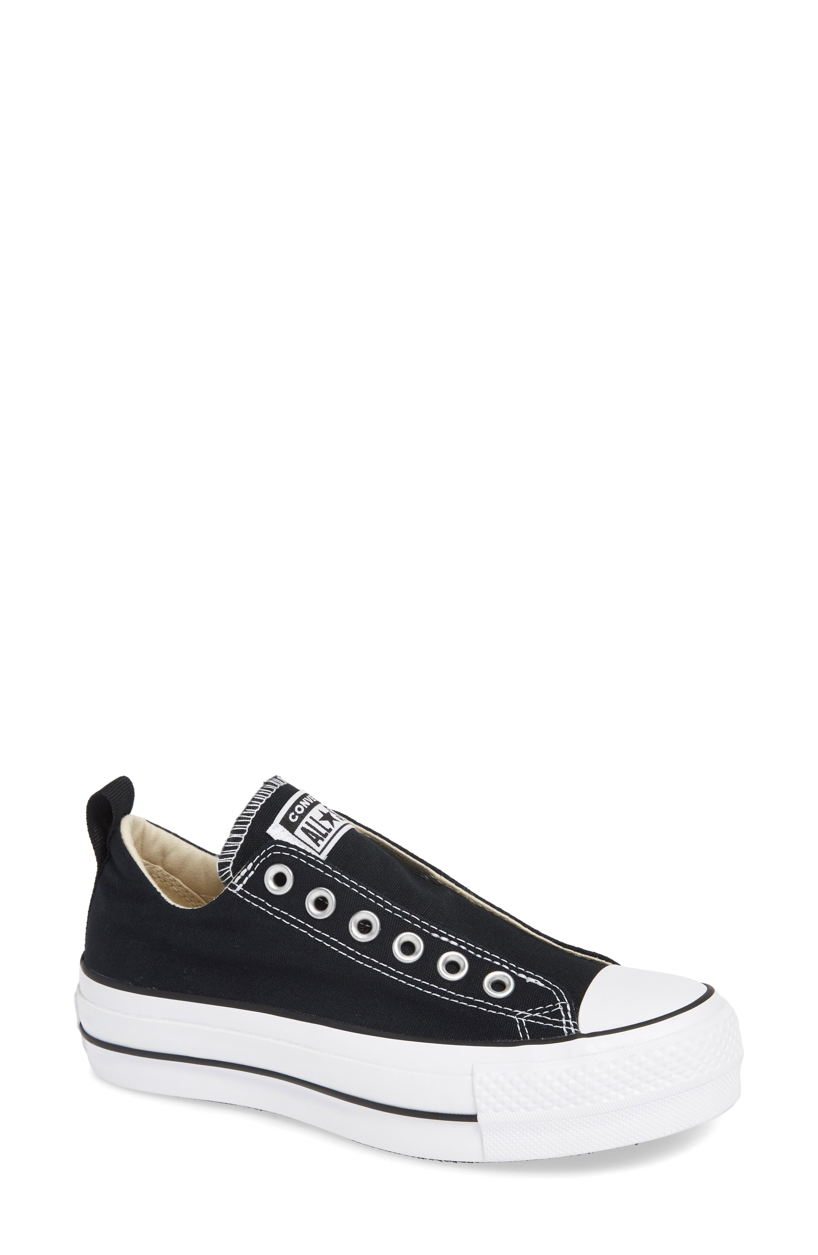 CONVERSE, Chuck Taylor<sup>®</sup> All Star<sup>®</sup> Low Top Sneaker, Main thumbnail 1, color, BLACK/ WHITE/ BLACK