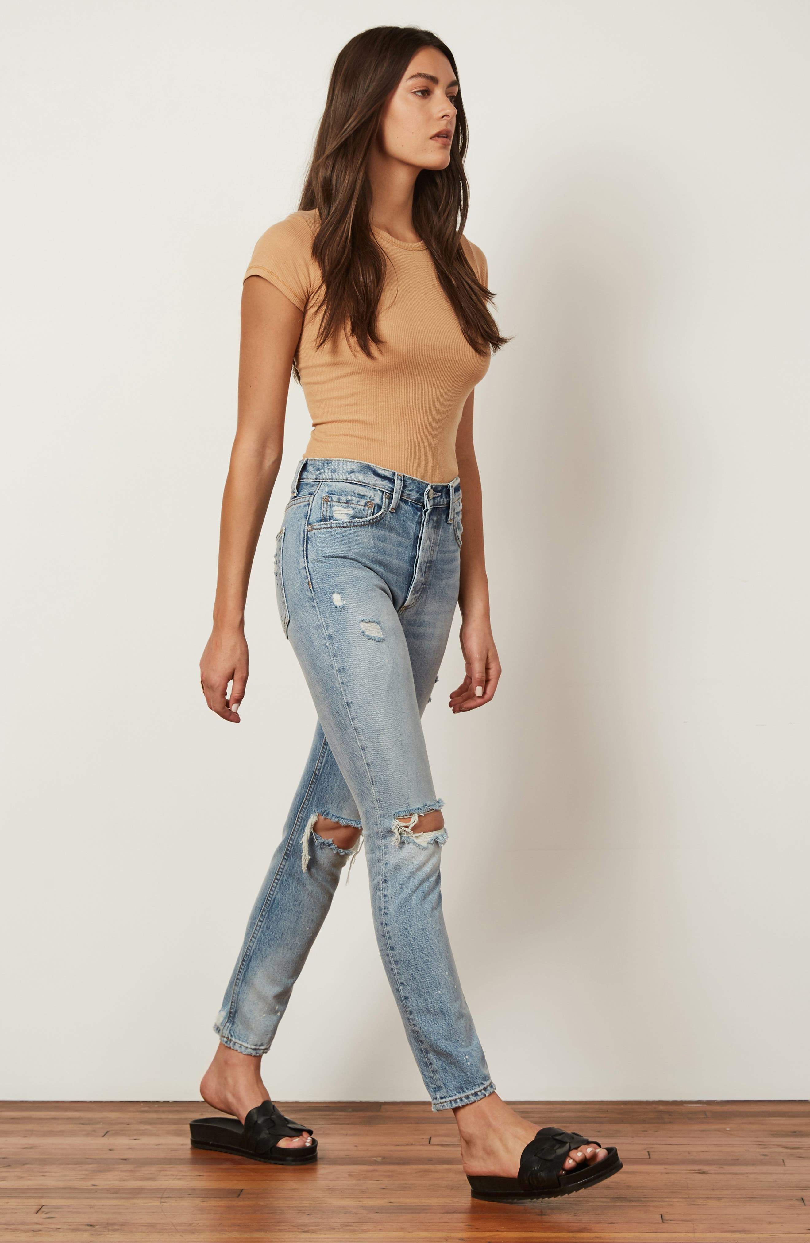 BOYISH JEANS, The Billy Ripped High Waist Ankle Skinny Jeans, Alternate thumbnail 8, color, EASY RIDER