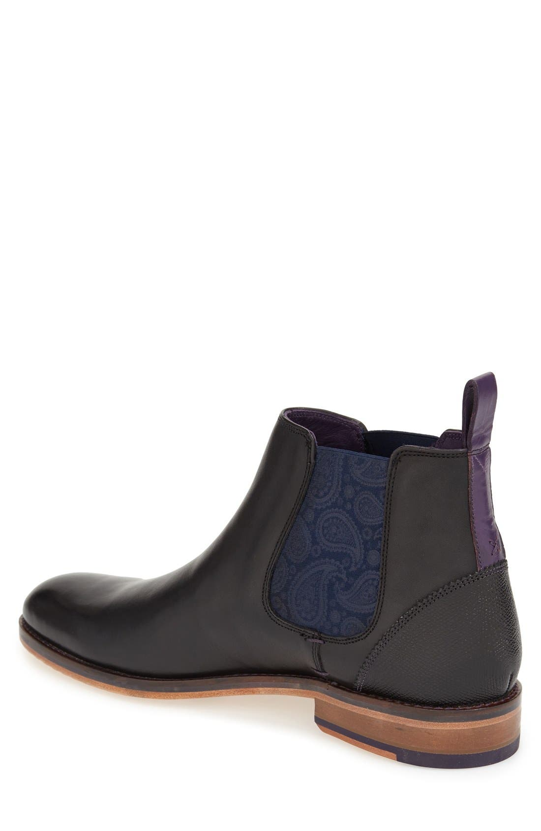 TED BAKER LONDON, 'Camroon 4' Chelsea Boot, Alternate thumbnail 2, color, BLACK LEATHER