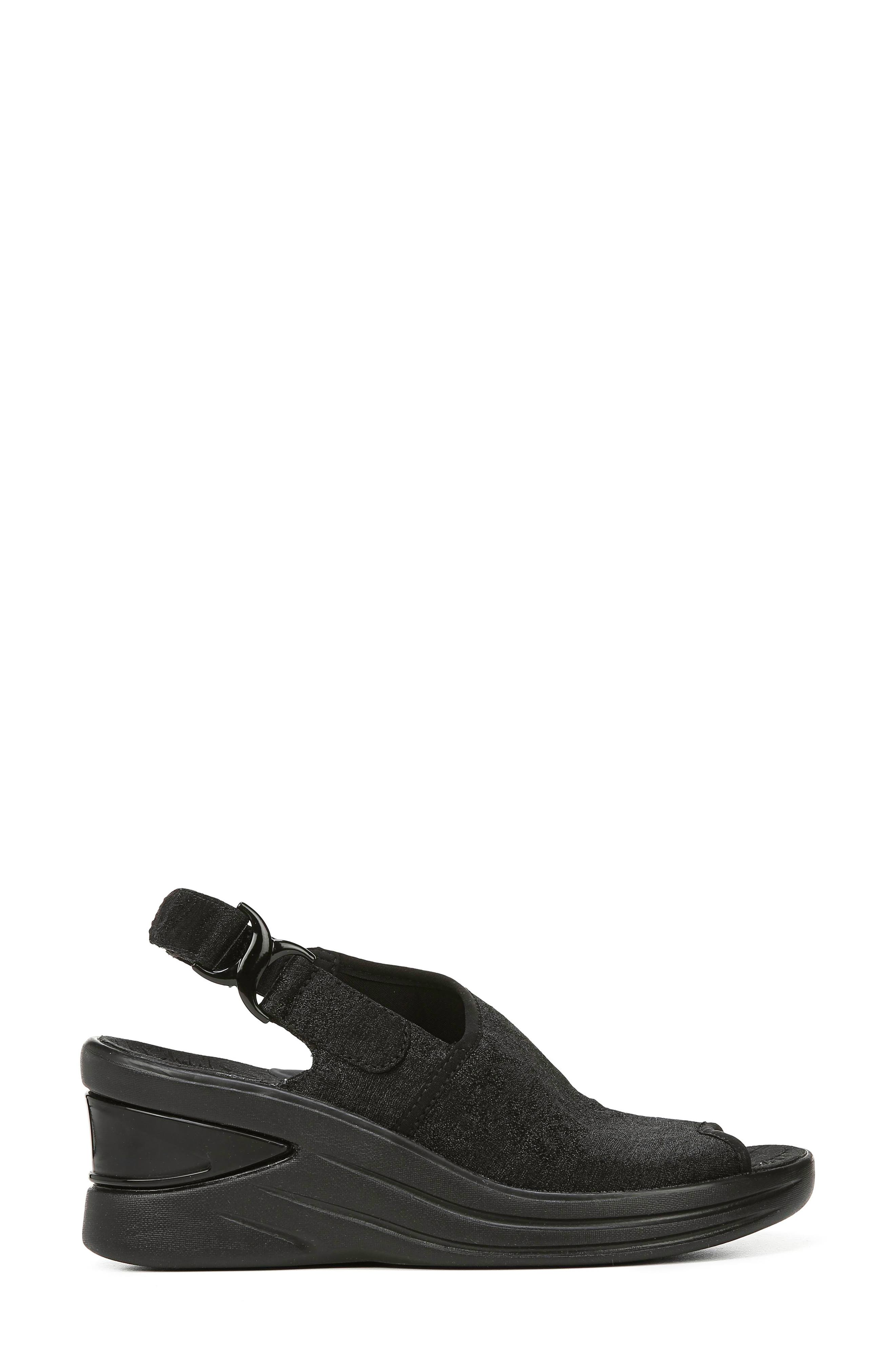 BZEES, Vivia Slingback Wedge Sandal, Alternate thumbnail 3, color, BLACK FABRIC