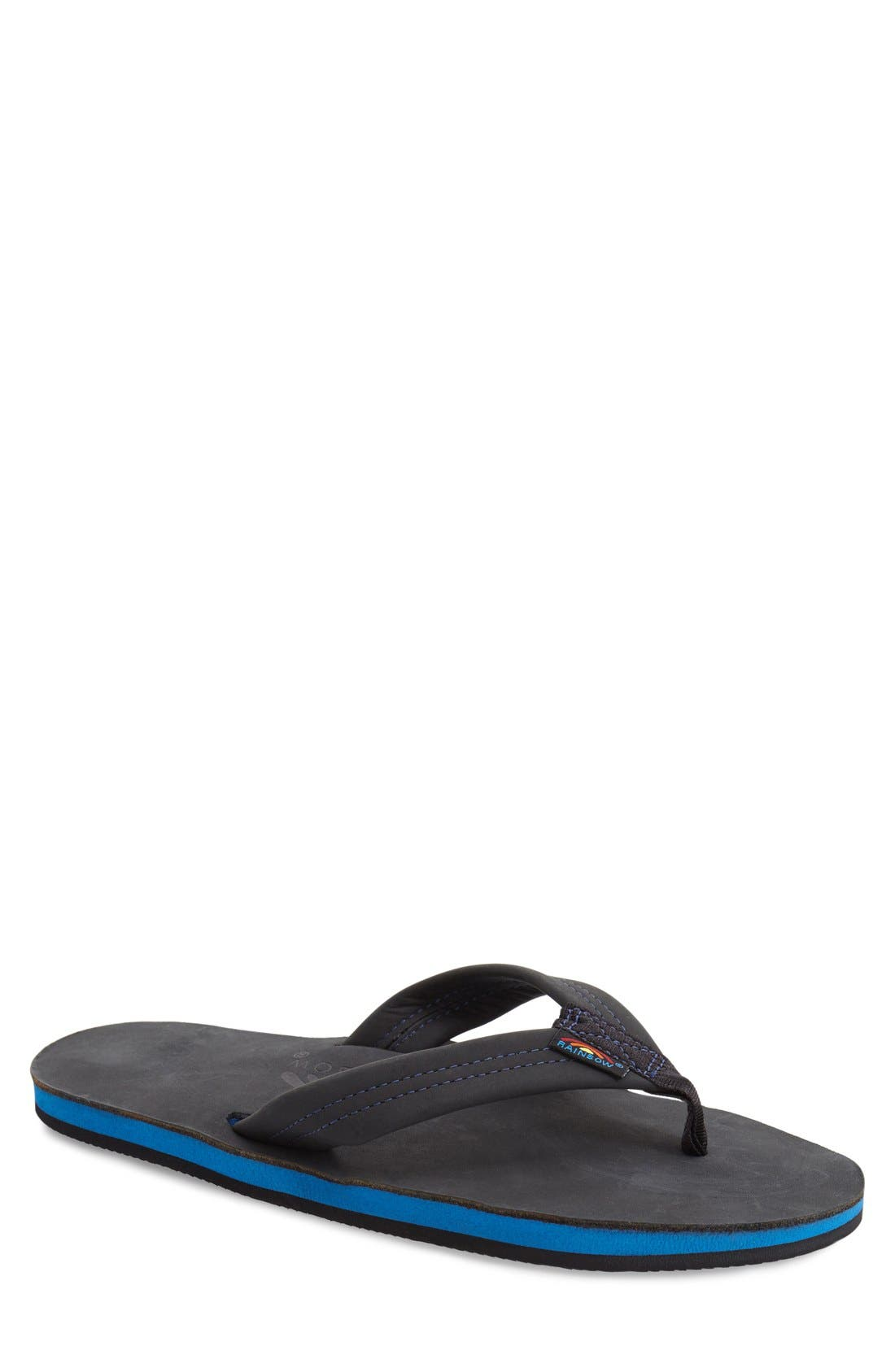 RAINBOW<SUP>®</SUP> Rainbow '301Blue' Flip Flop, Main, color, PREMIER BLACK/ BLUE MIDSOLE