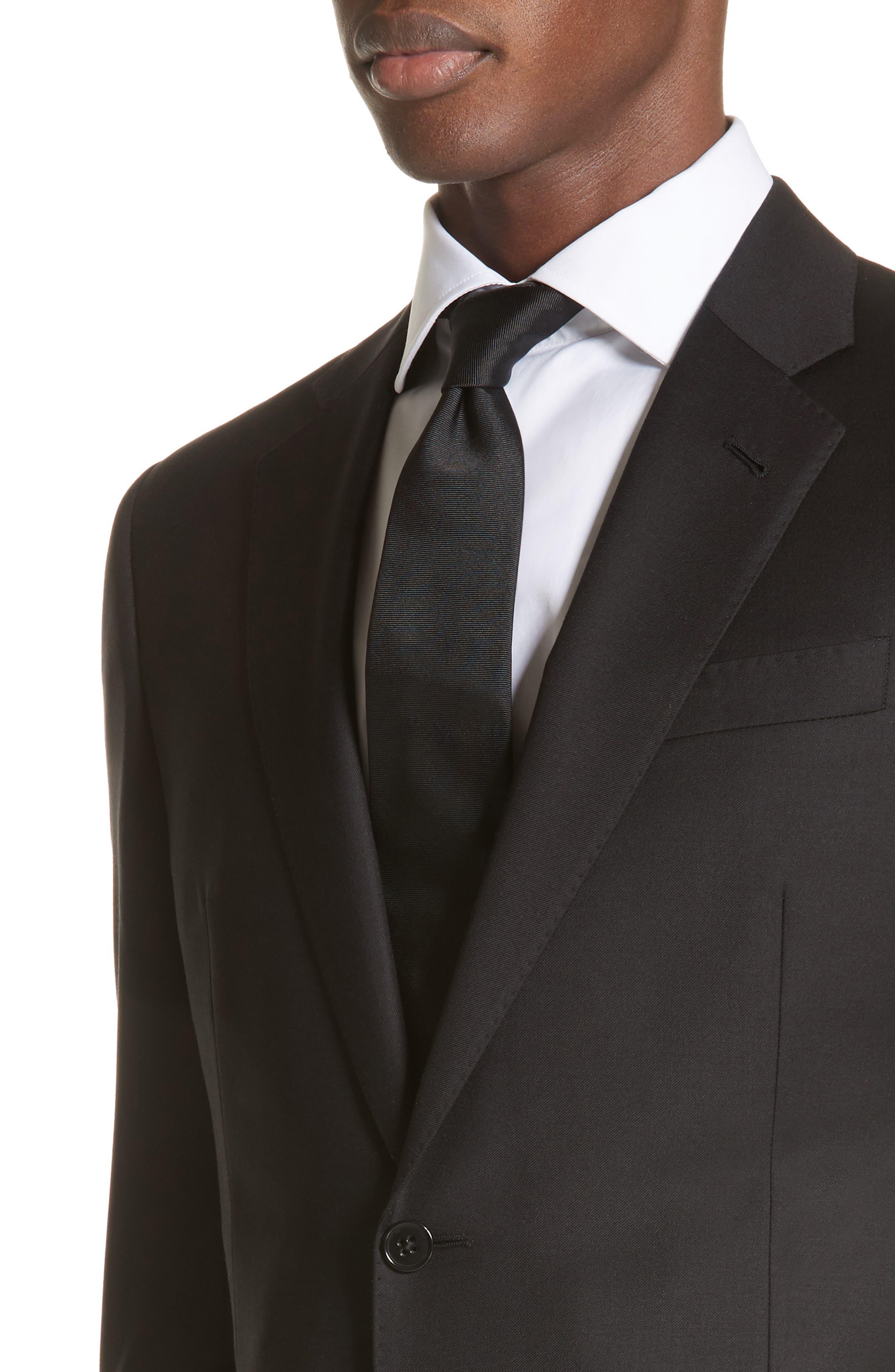 EMPORIO ARMANI, Trim Fit Solid Wool Suit, Alternate thumbnail 4, color, BLACK