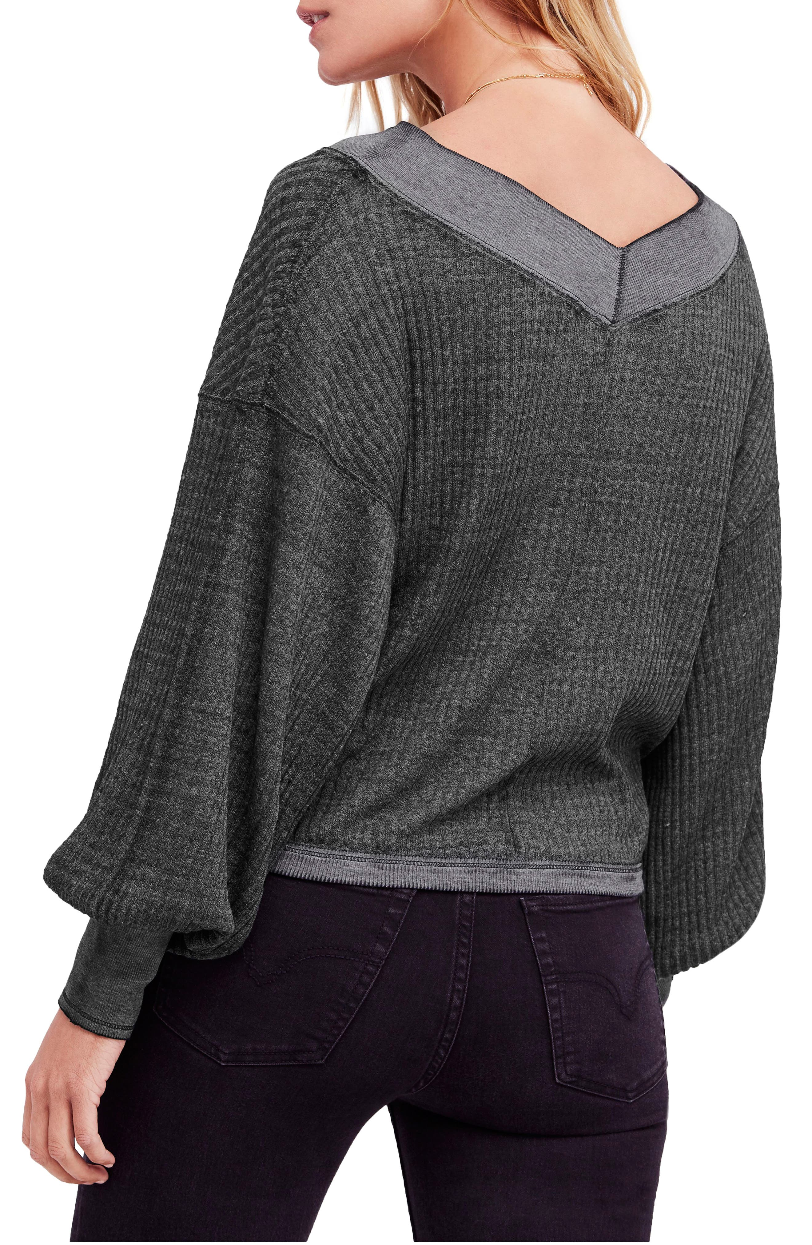 FREE PEOPLE, We the Free by Free People South Side Thermal Top, Alternate thumbnail 2, color, BLACK