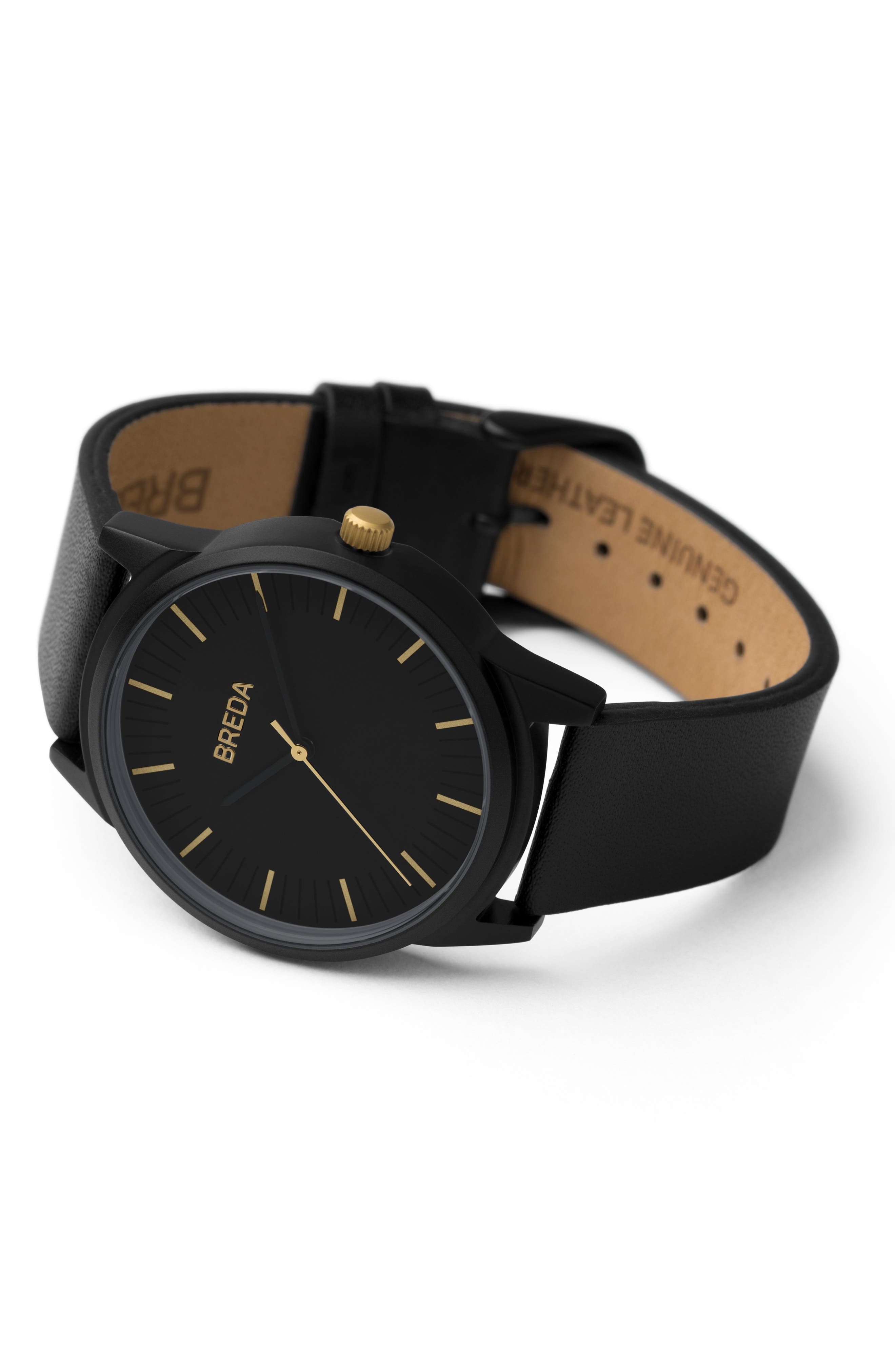 BREDA, Bresson Leather Strap Watch, 39mm, Alternate thumbnail 3, color, 001