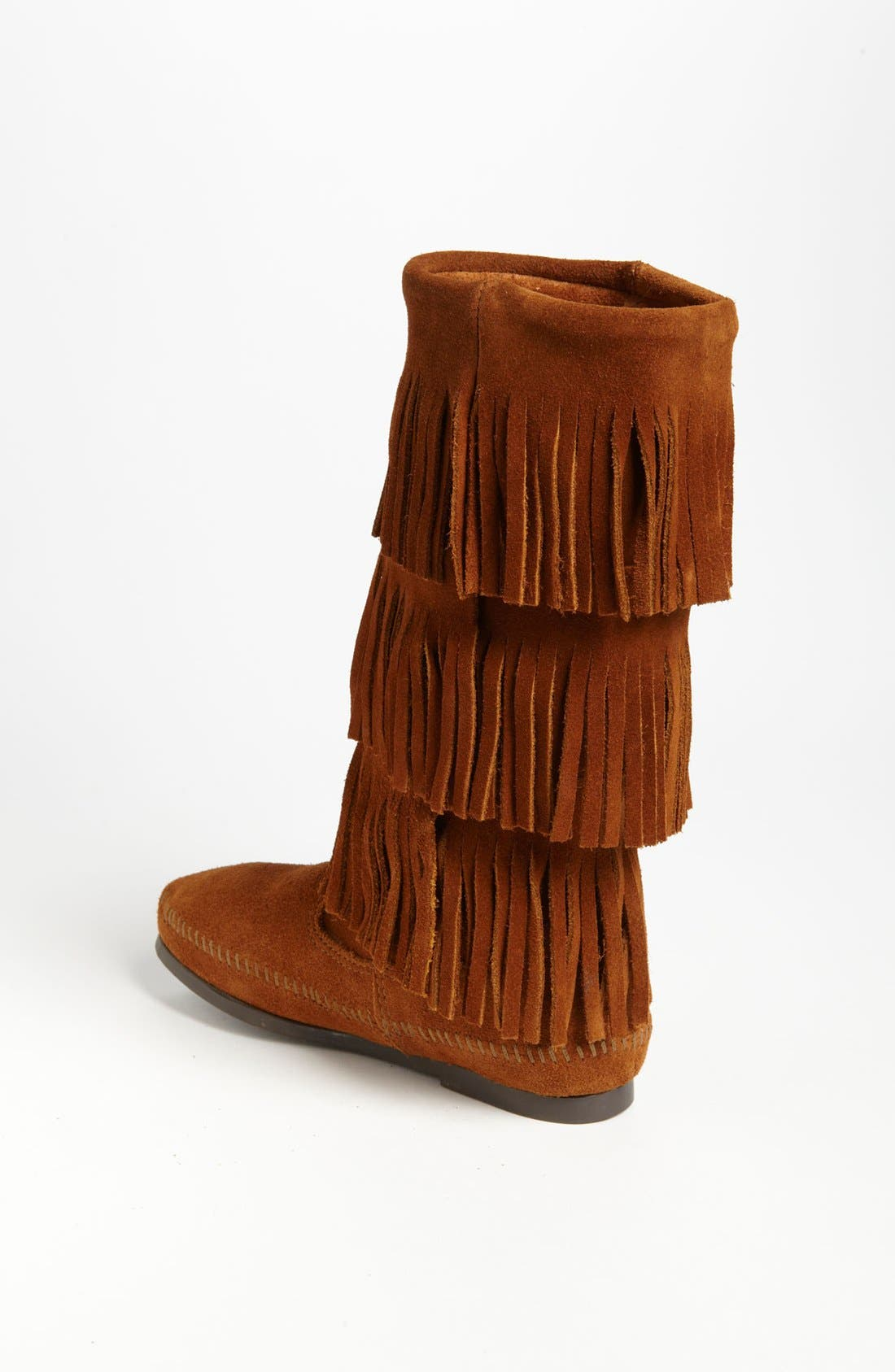 MINNETONKA, 3-Layer Fringe Boot, Alternate thumbnail 4, color, BROWN SUEDE