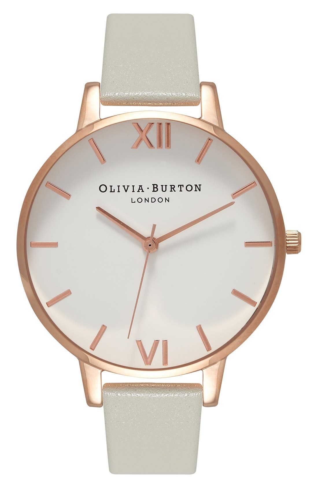 OLIVIA BURTON, Big Dial Leather Strap Watch, 38mm, Main thumbnail 1, color, GREY/ WHITE