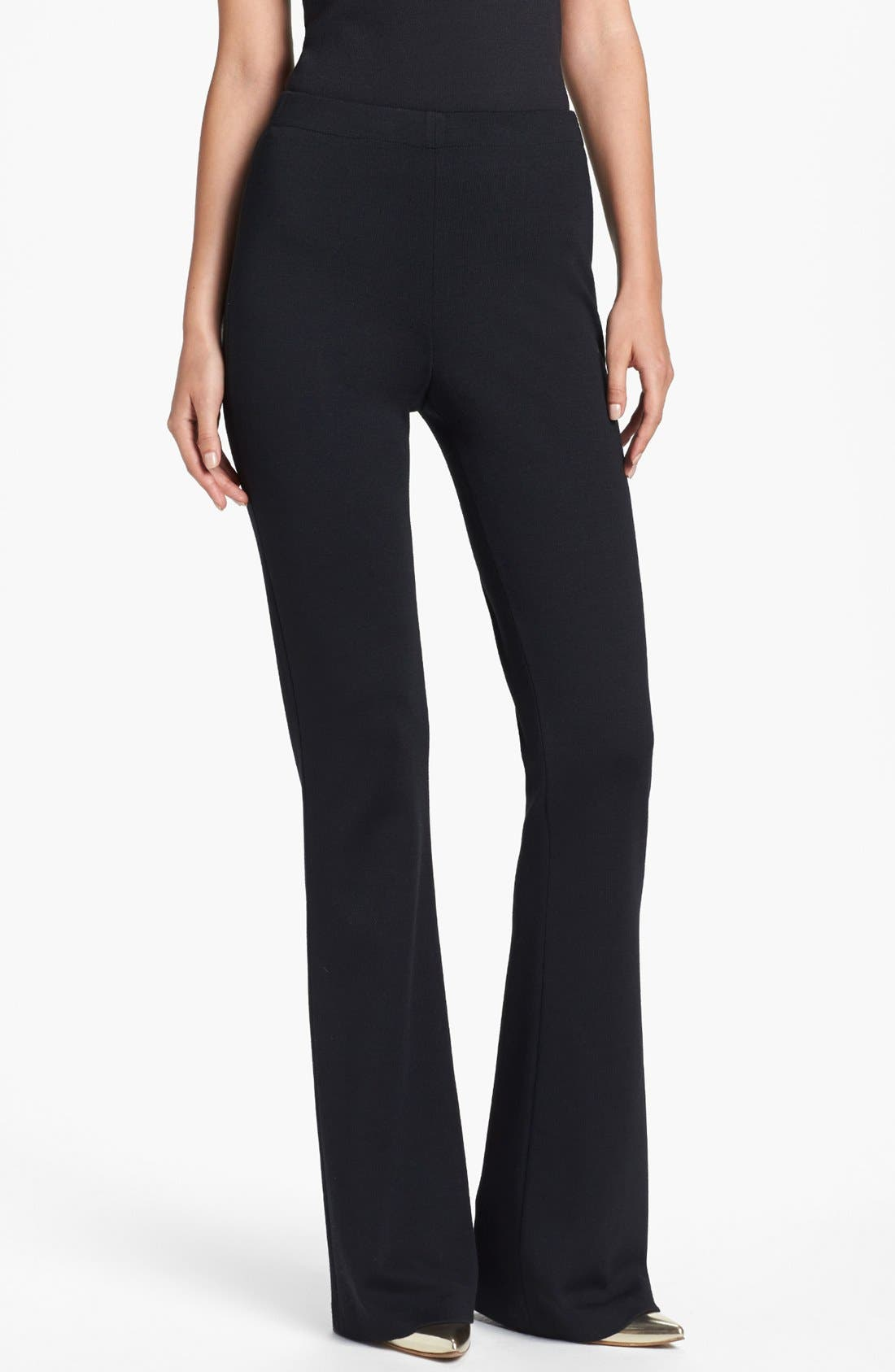ST. JOHN COLLECTION, 'Kasia' Bootcut Milano Knit Pants, Main thumbnail 1, color, CAVIAR