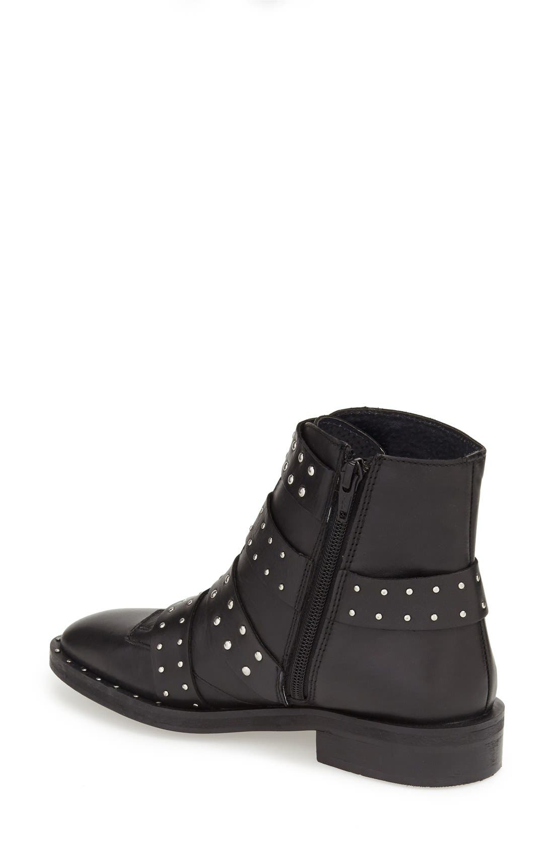TOPSHOP, 'Amy' Studded Buckle Bootie, Alternate thumbnail 3, color, 001