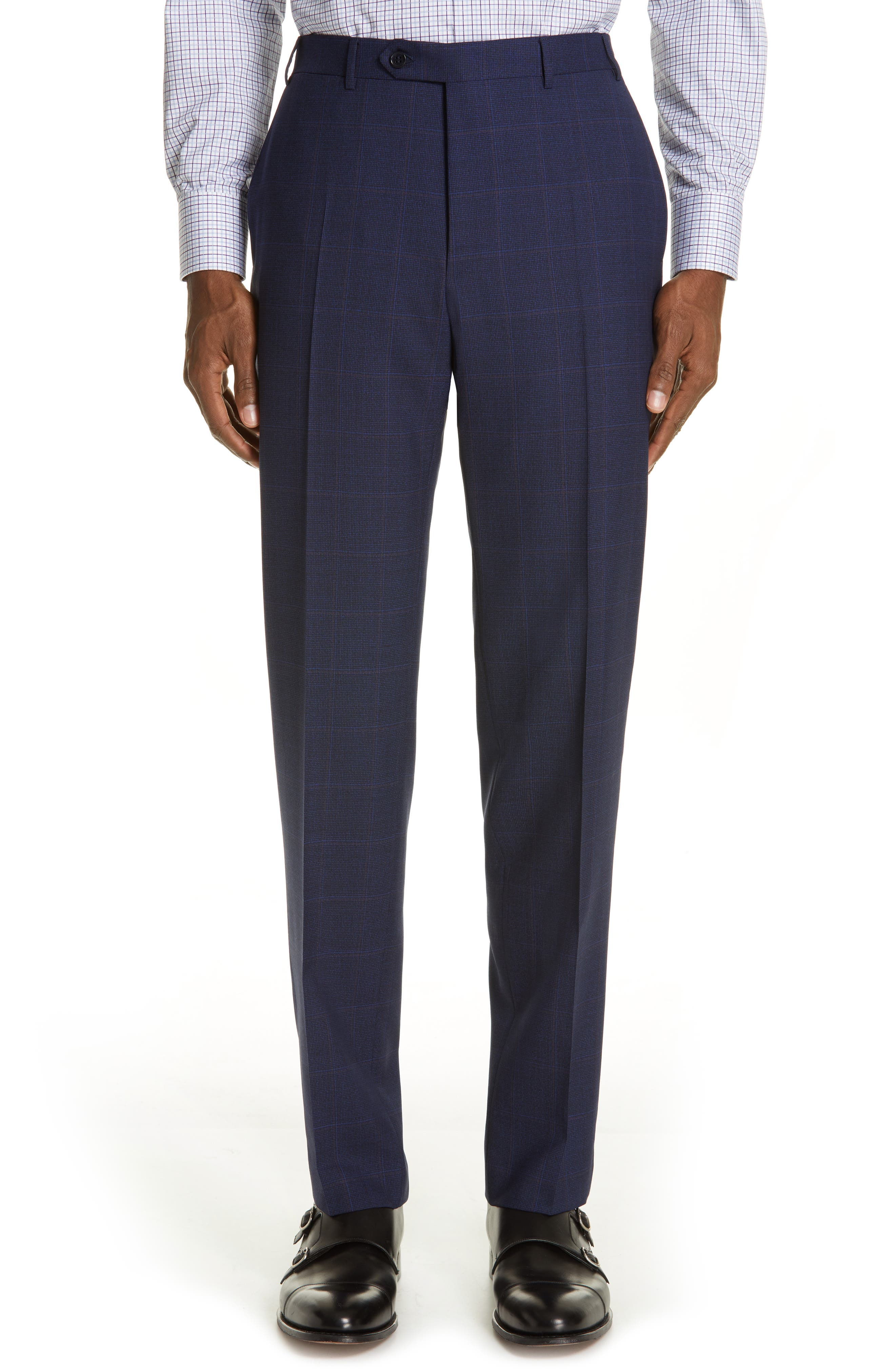 CANALI, Siena Soft Classic Fit Plaid Wool Suit, Alternate thumbnail 6, color, NAVY