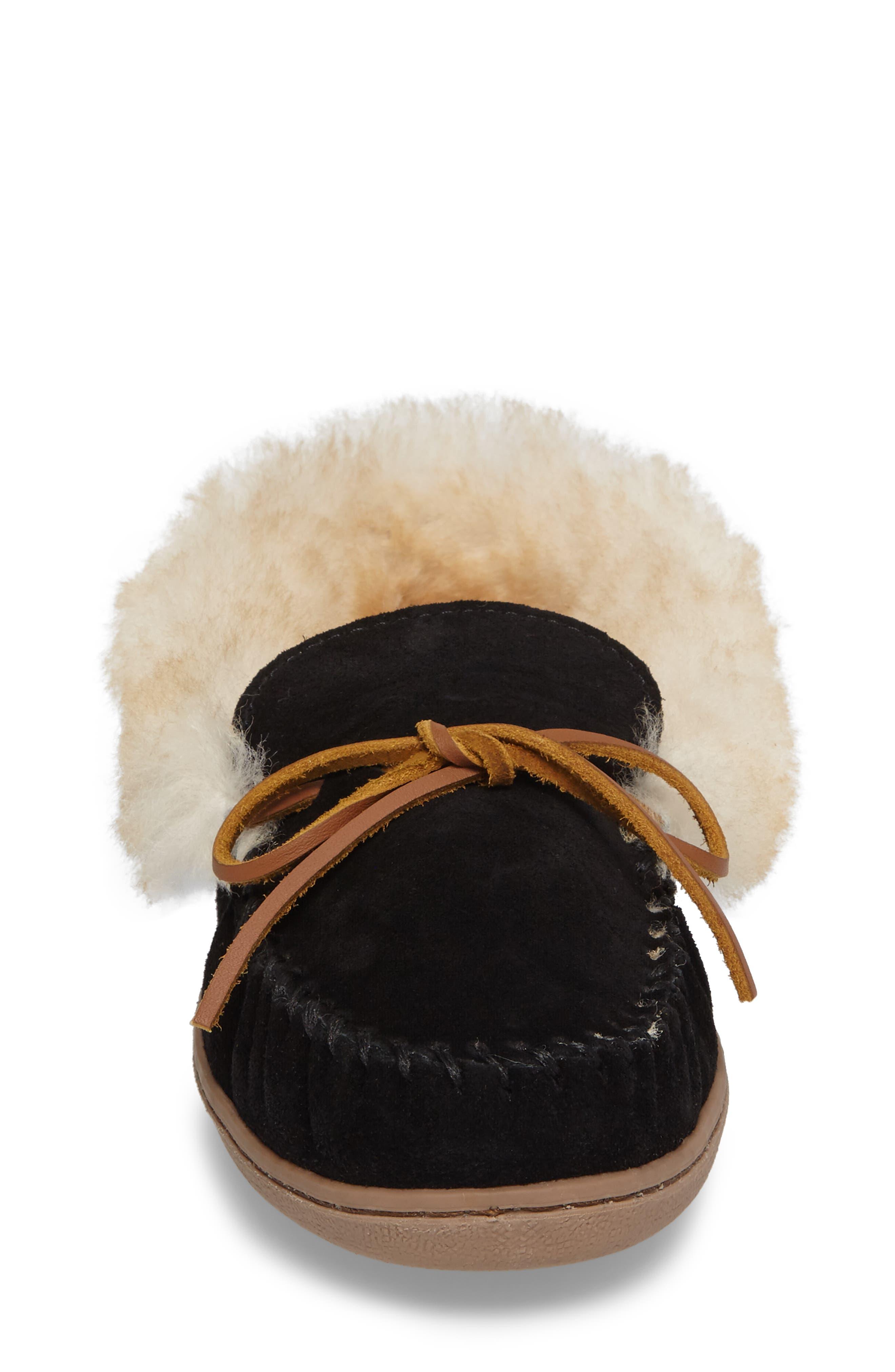 MINNETONKA, Alpine Genuine Shearling Slipper, Alternate thumbnail 4, color, BLACK