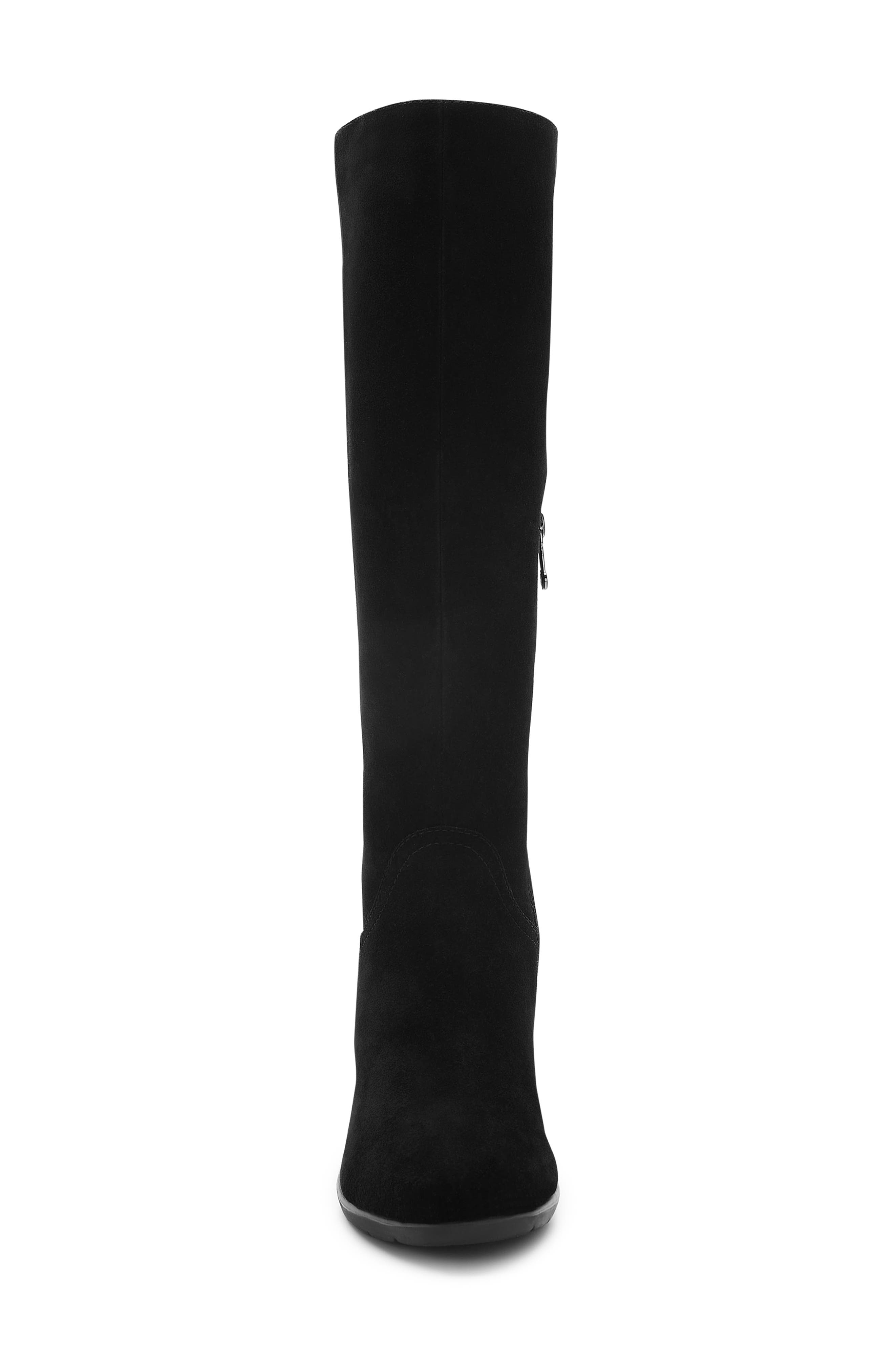 BLONDO, Larissa Waterproof Wedge Knee High Boot, Alternate thumbnail 3, color, BLACK SUEDE