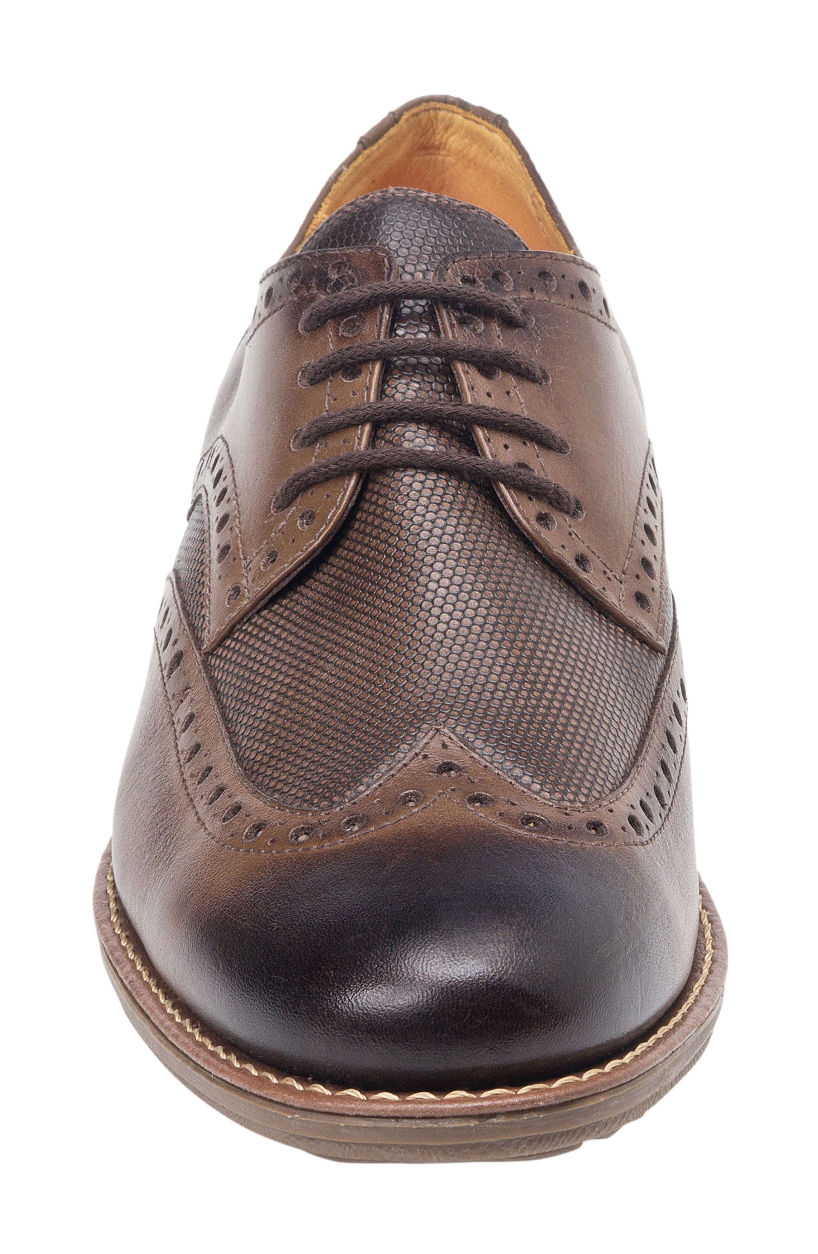 SANDRO MOSCOLONI, Martin Wingtip, Alternate thumbnail 4, color, BROWN LEATHER