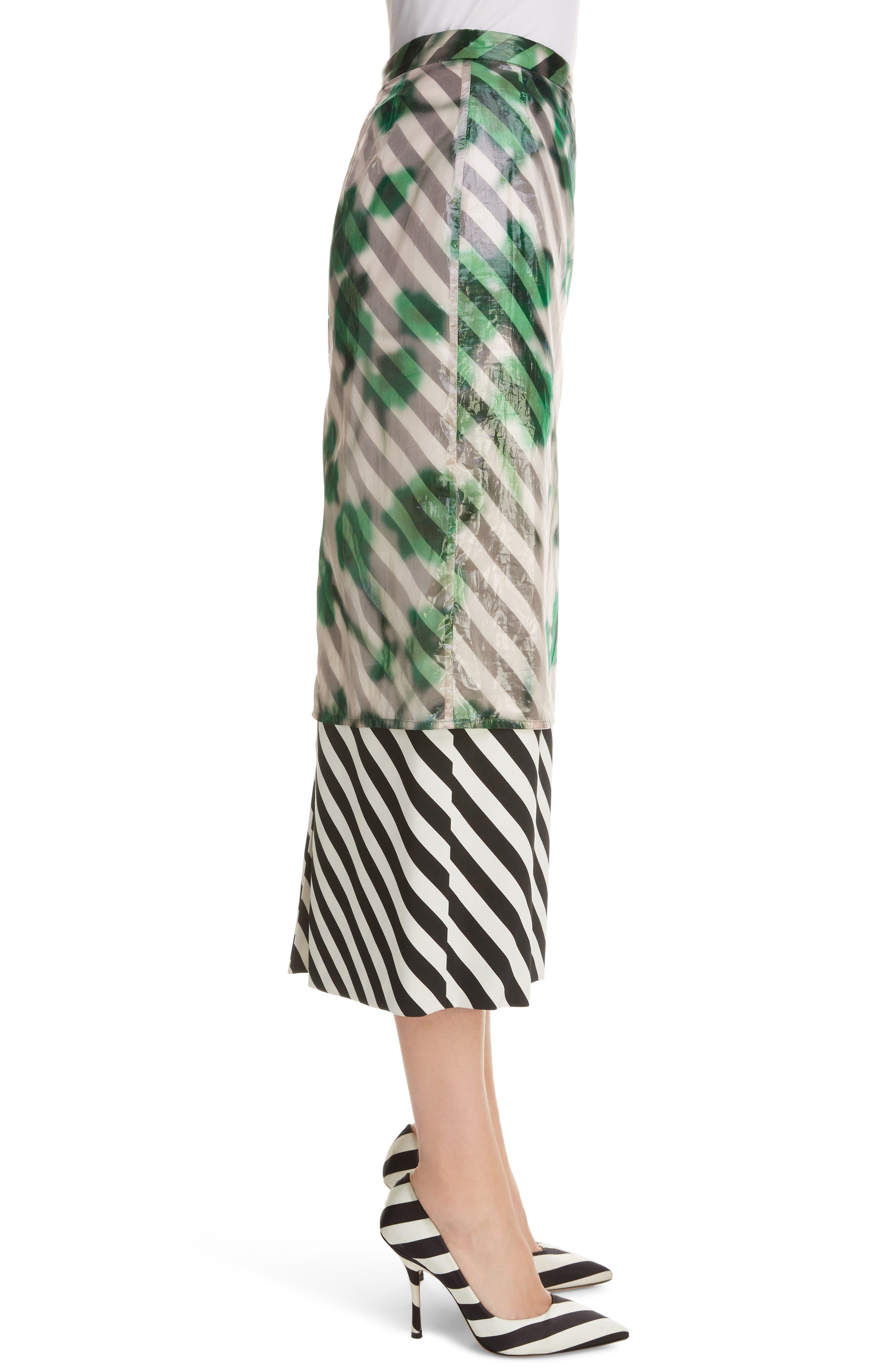 DRIES VAN NOTEN, Dires Van Noten Painted Overlay Silk Blend Pencil Skirt, Alternate thumbnail 3, color, 604-GREEN