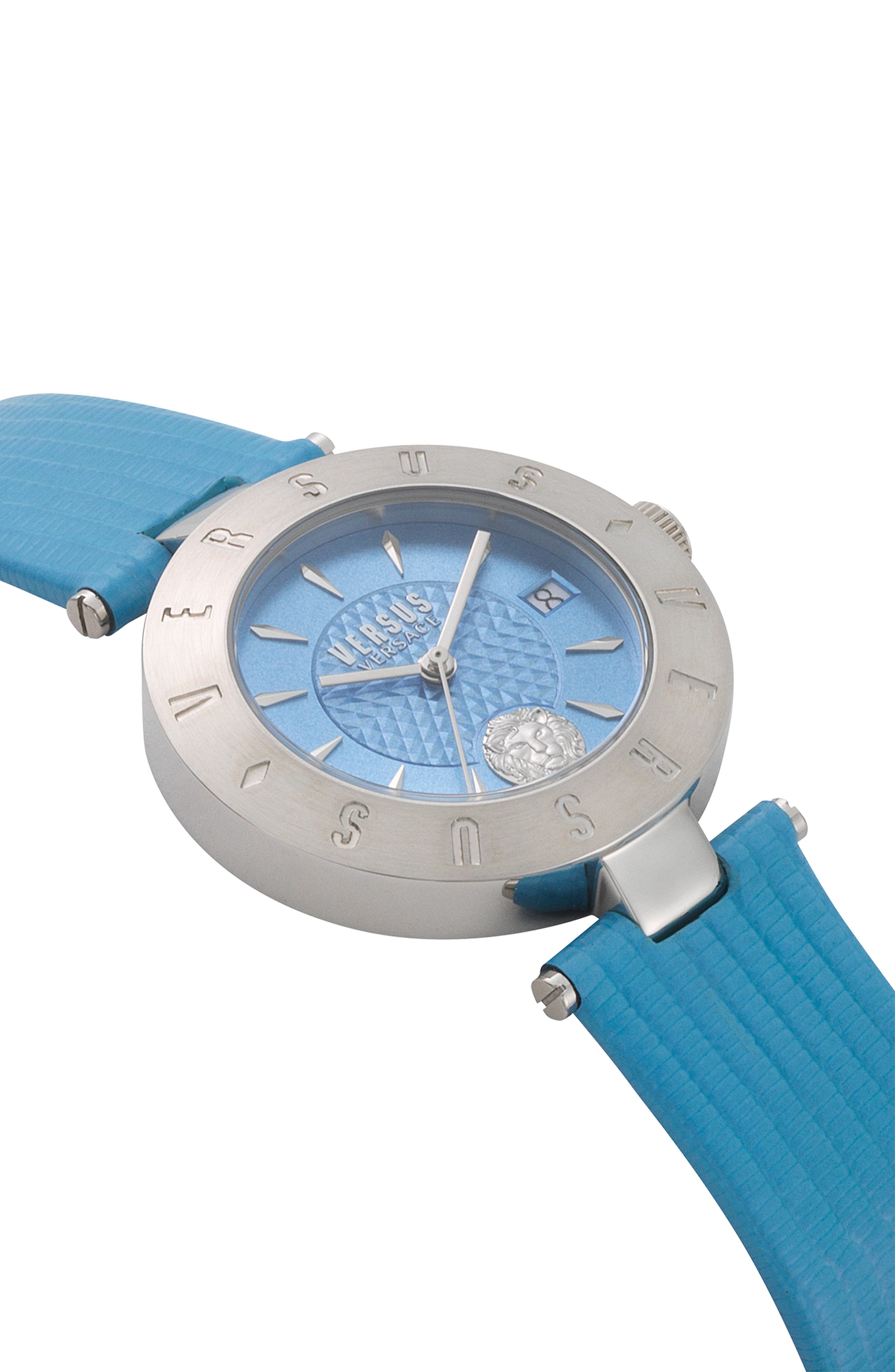 VERSUS VERSACE, Logo Leather Strap Watch, 34mm, Alternate thumbnail 3, color, BLUE/ SILVER