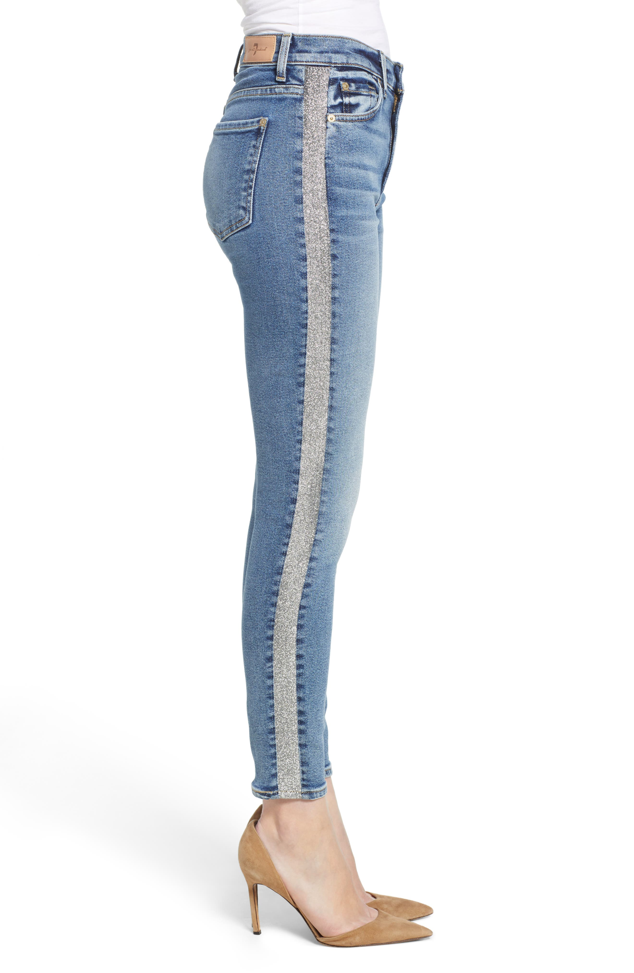 7 FOR ALL MANKIND<SUP>®</SUP>, Luxe Vintage Side Stripe High Waist Ankle Skinny Jeans, Alternate thumbnail 4, color, 401