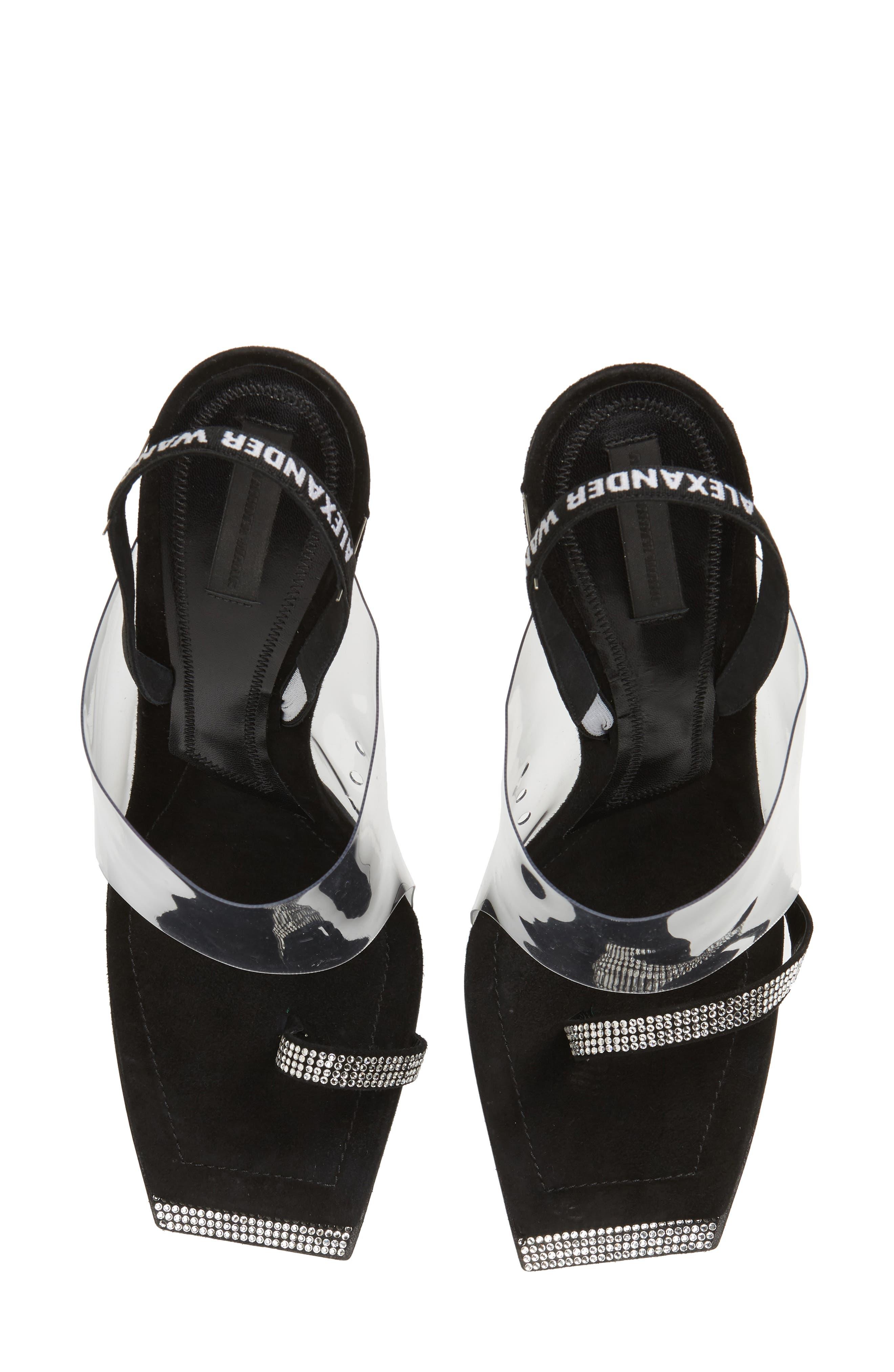 ALEXANDER WANG Clear Shield Sandal, Main, color, BLACK