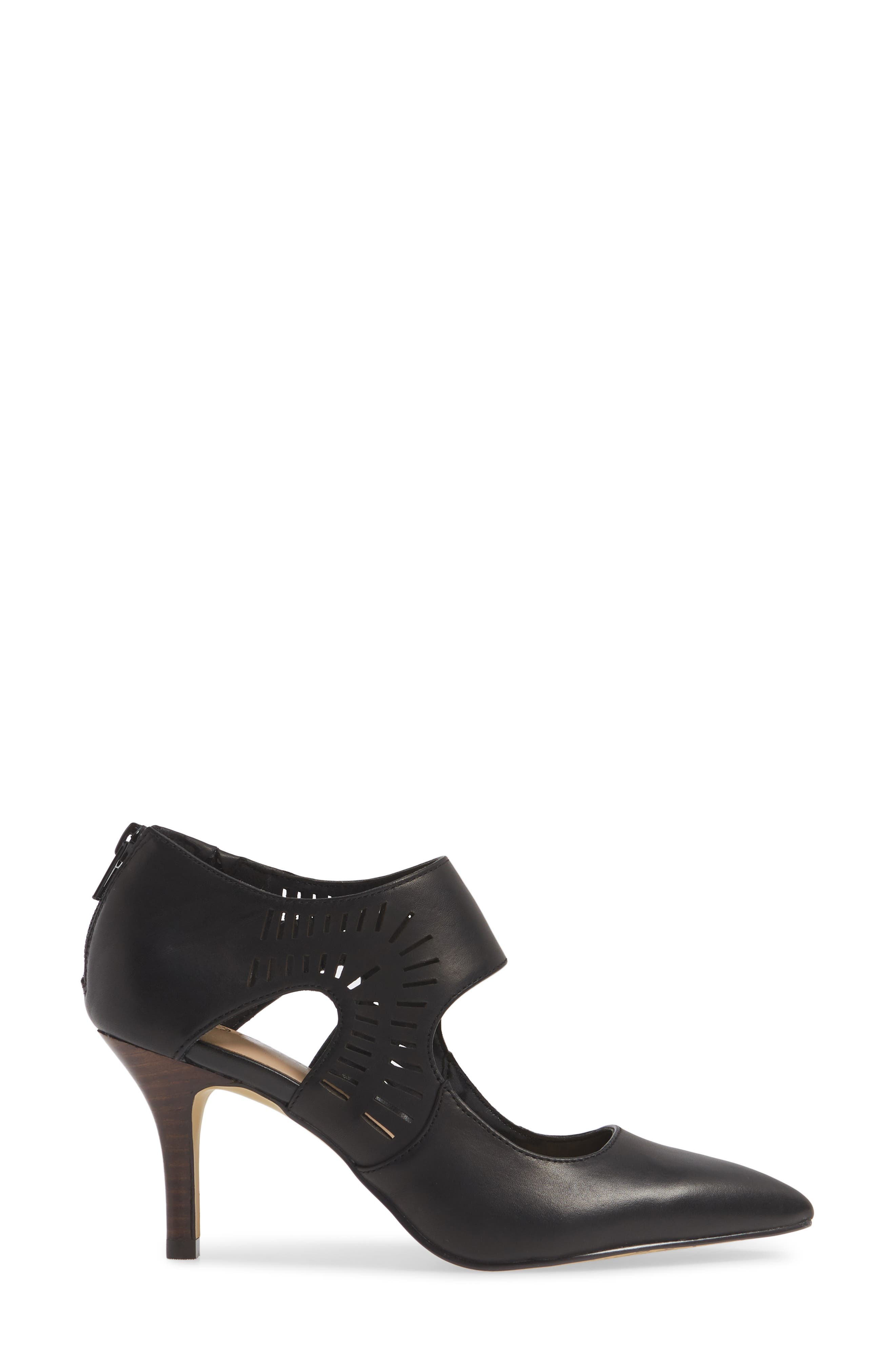BELLA VITA, Dani Perforated Pump, Alternate thumbnail 3, color, BLACK LEATHER
