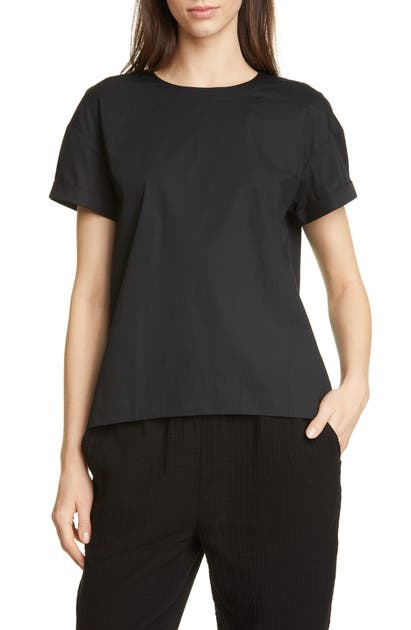 Eileen Fisher Tops HIGH/LOW ORGANIC STRETCH COTTON SWING TOP