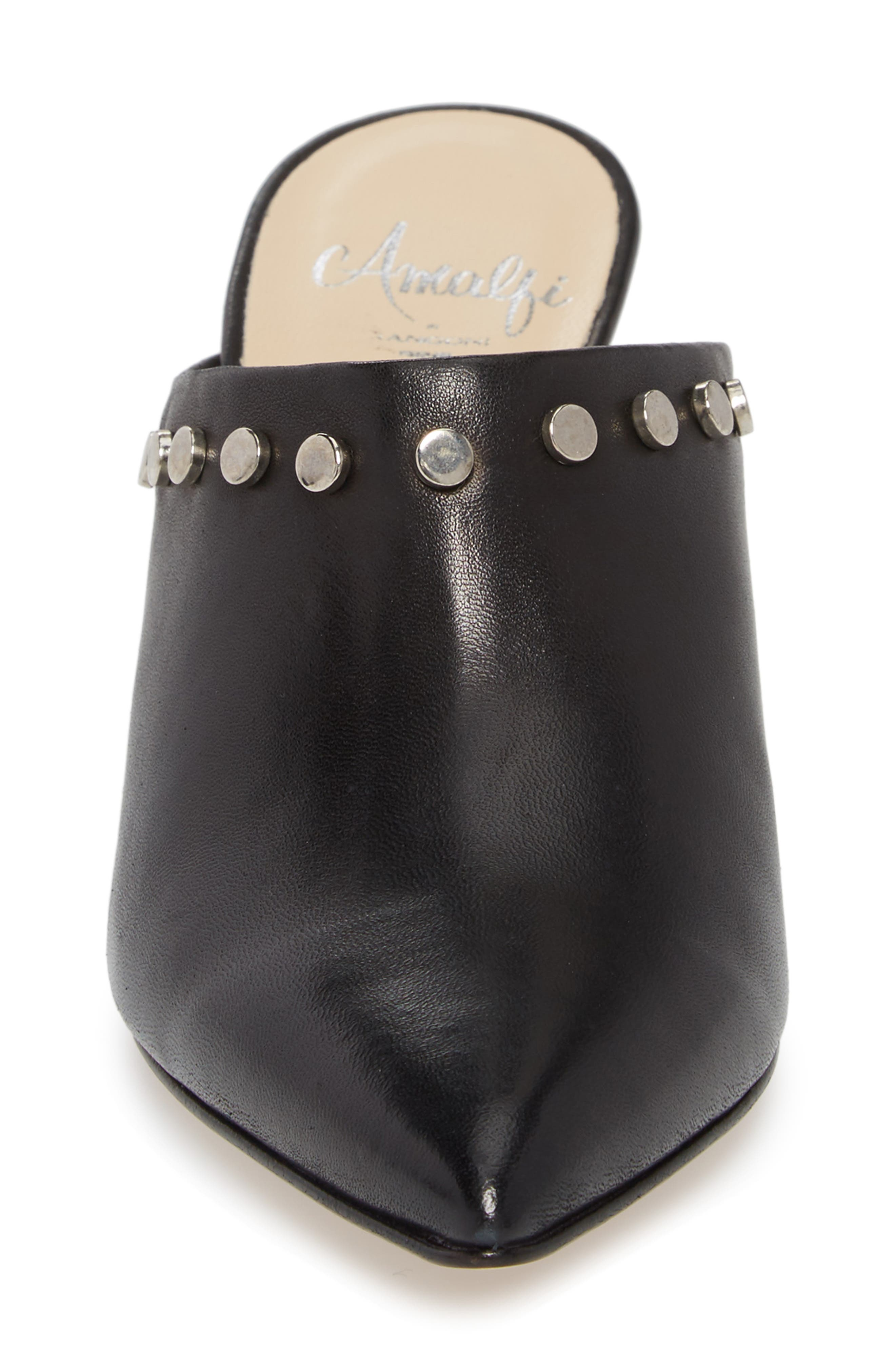 AMALFI BY RANGONI, Priamo Mule, Alternate thumbnail 4, color, BLACK LEATHER