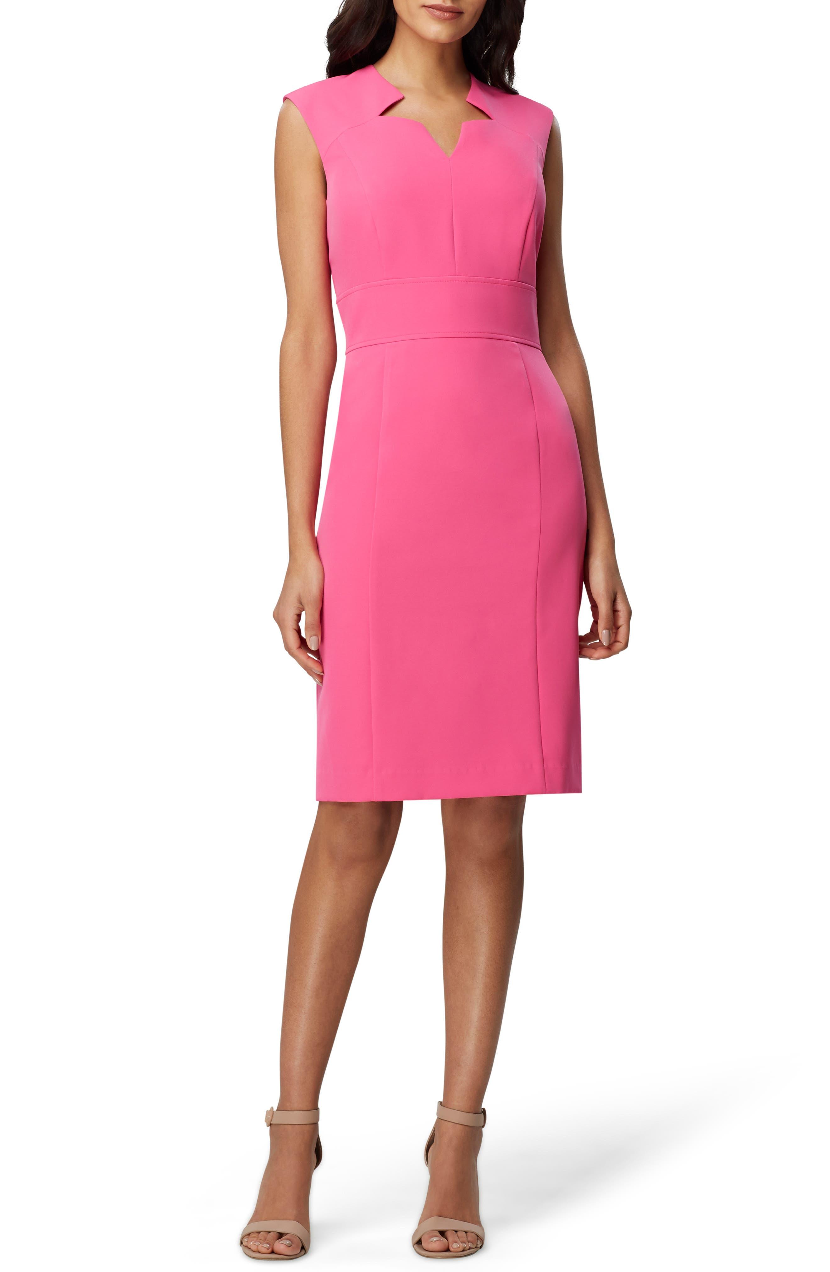 Tahari Crepe Star Sheath Dress, Pink