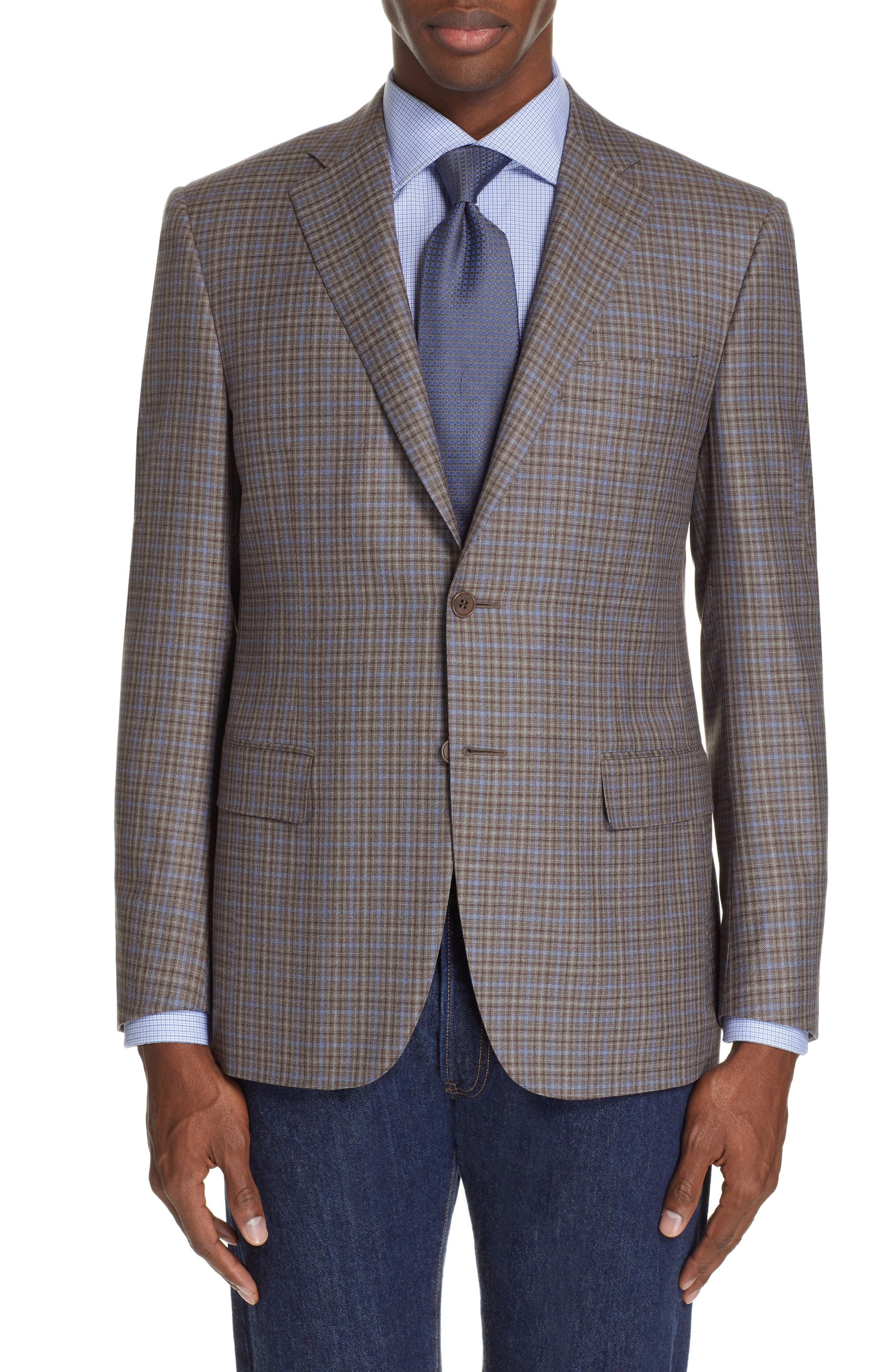 CANALI, Sienna Classic Fit Plaid Wool Sport Coat, Main thumbnail 1, color, BROWN