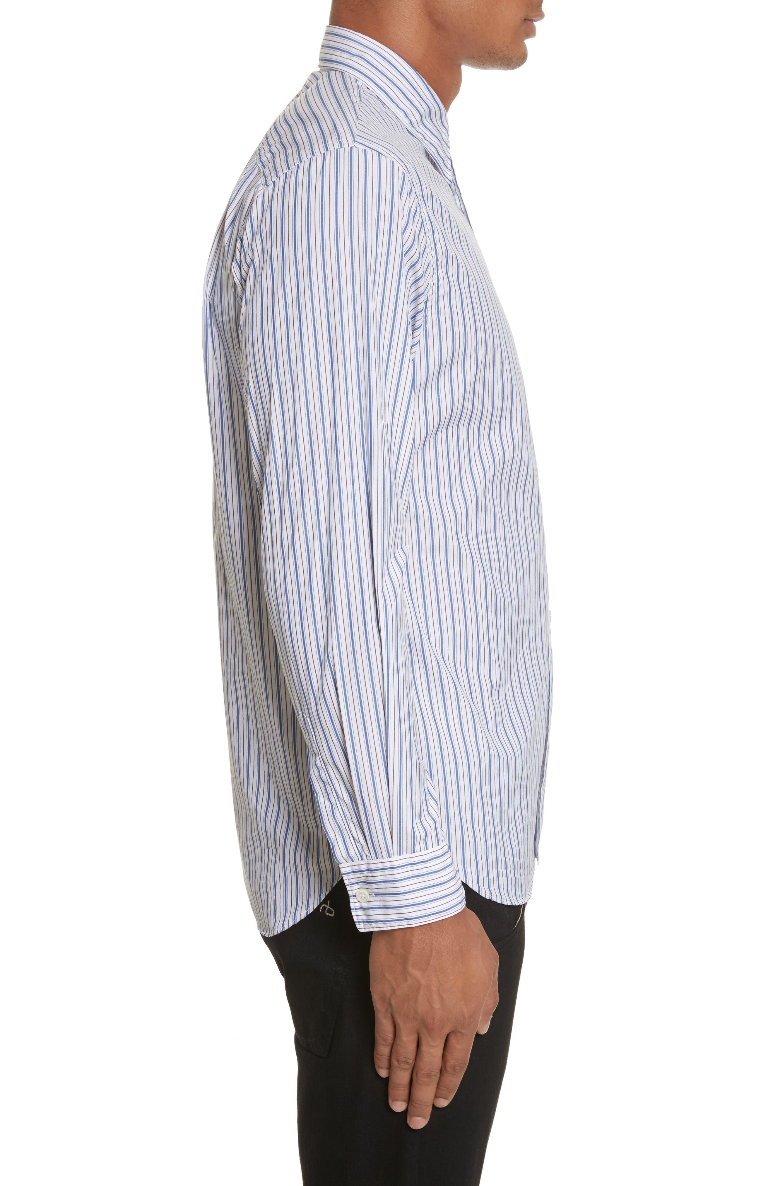 COMME DES GARÇONS PLAY, Black Heart Stripe Oxford Shirt, Alternate thumbnail 4, color, BLUE