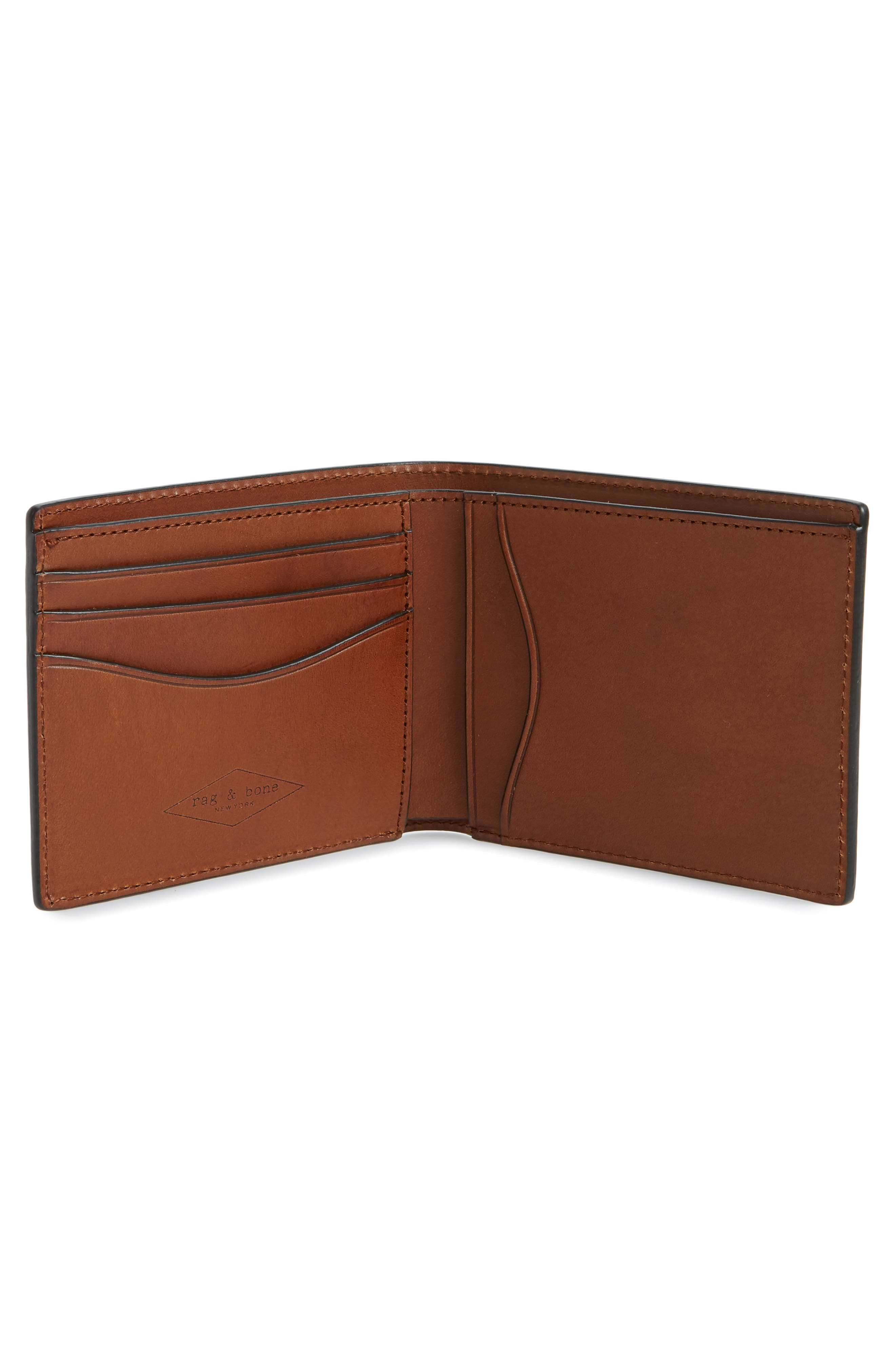 RAG & BONE, Hampshire Leather Bifold Wallet, Alternate thumbnail 2, color, BROWN COMBO