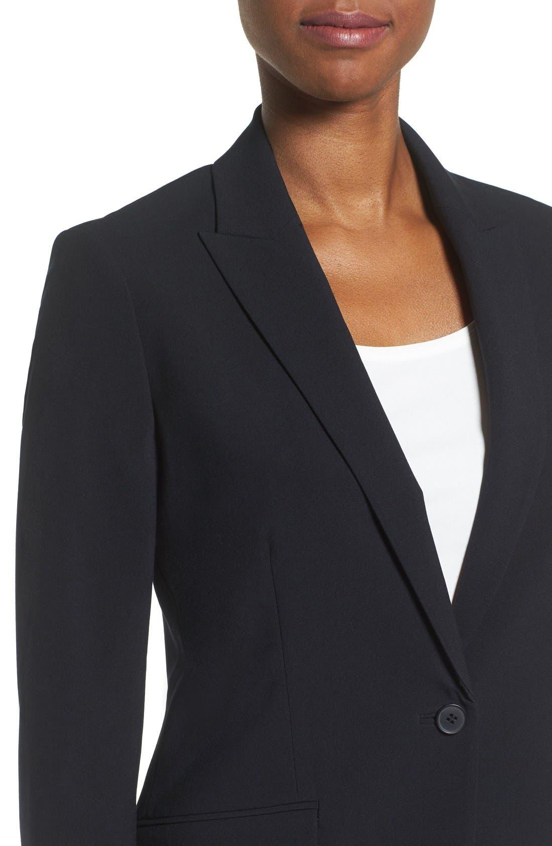 ANNE KLEIN, Long Boyfriend Suit Jacket, Alternate thumbnail 6, color, 001