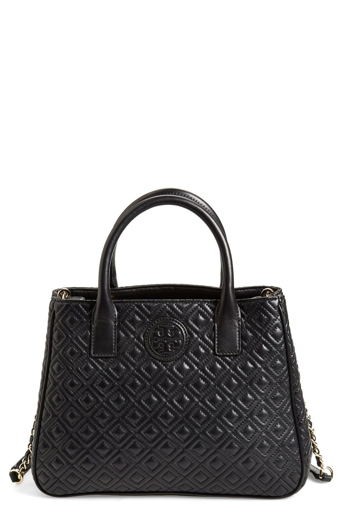 TORY BURCH, Marion Quilted Lambskin Tote, Main thumbnail 1, color, 001