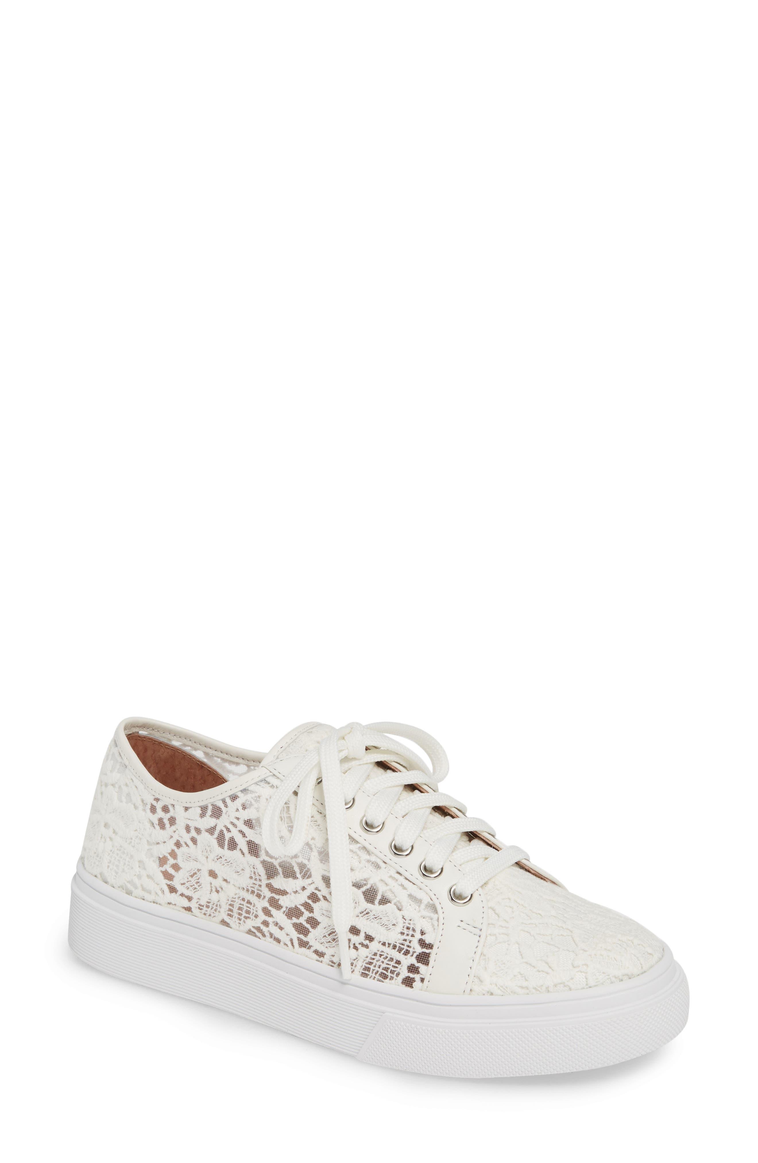 CASLON<SUP>®</SUP> Payton Lace Sneaker, Main, color, WHITE CROCHET